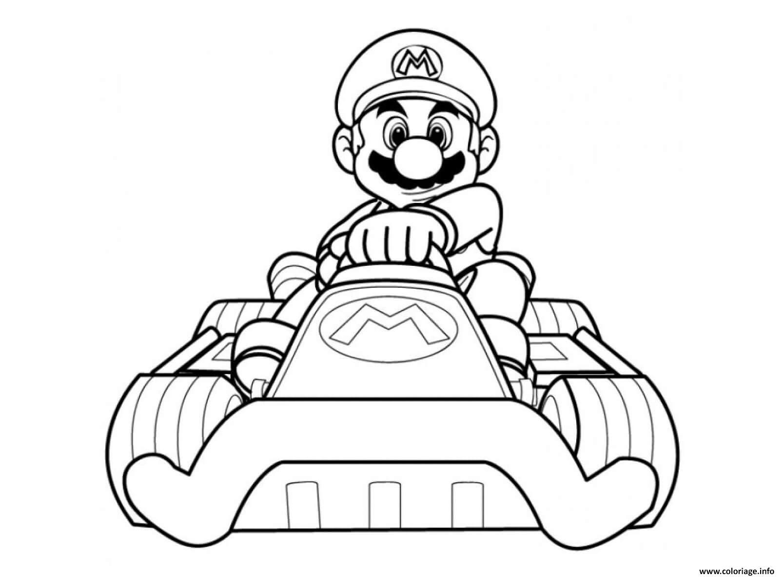 Dessin mario kart wii avec sa voiture Coloriage Gratuit à Imprimer