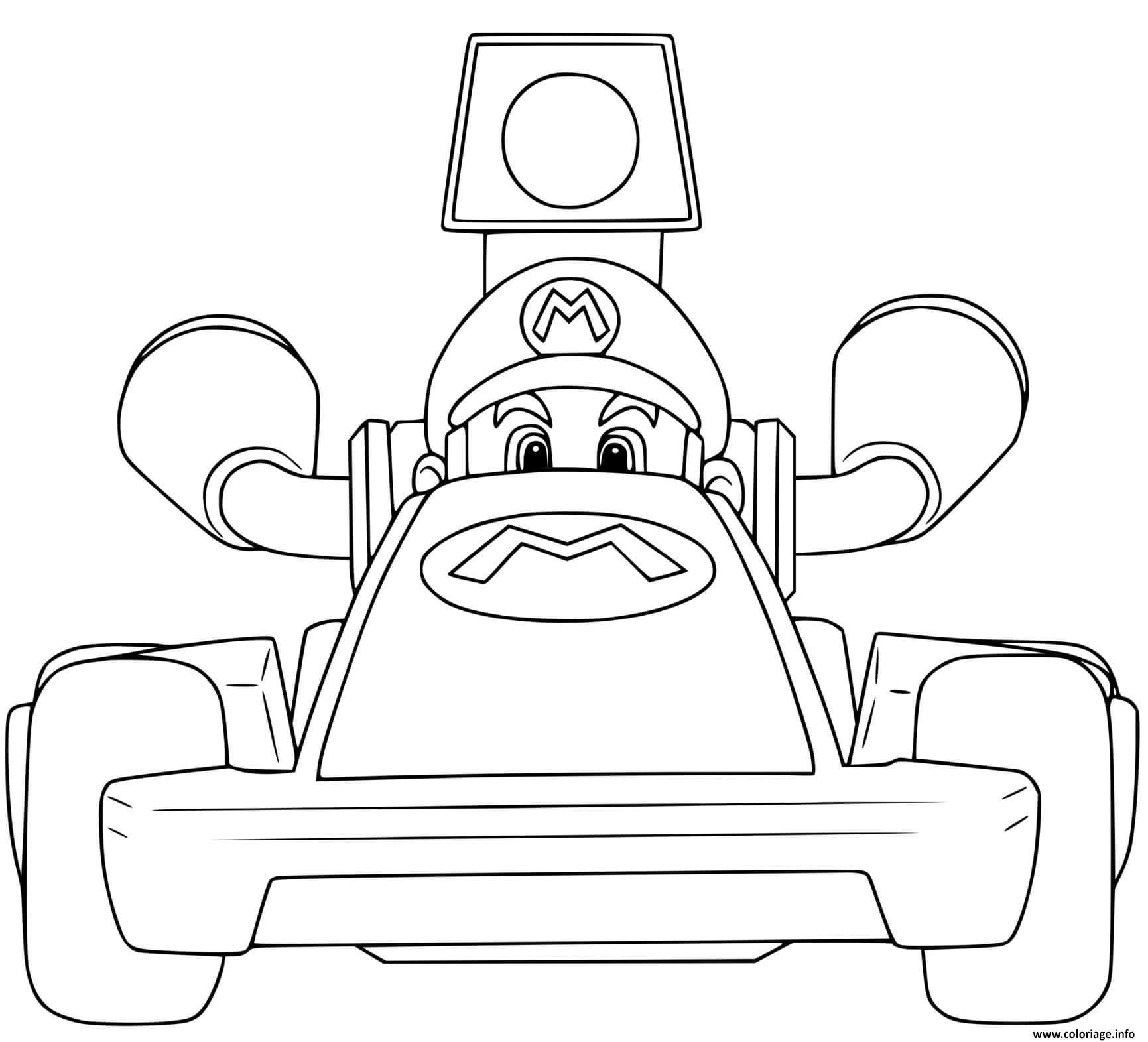 Dessin super mario bros kart voiture rapide Coloriage Gratuit à Imprimer