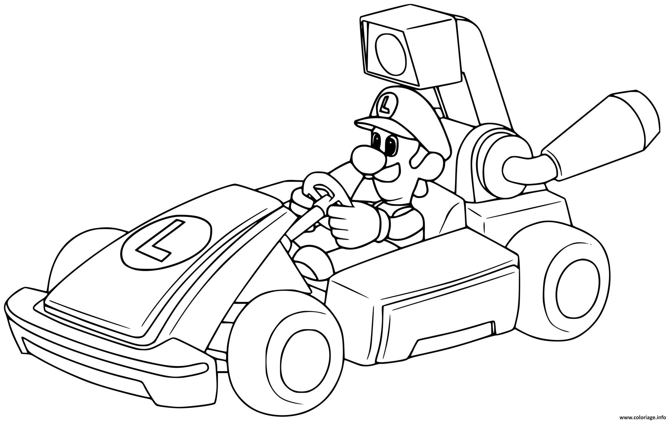 Dessin luigi se prepare pour la course de voiture Coloriage Gratuit à Imprimer