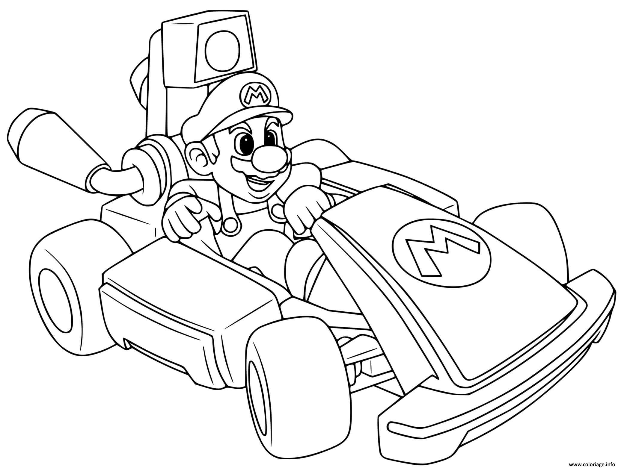Dessin mario kart deluxe voiture de course Coloriage Gratuit à Imprimer