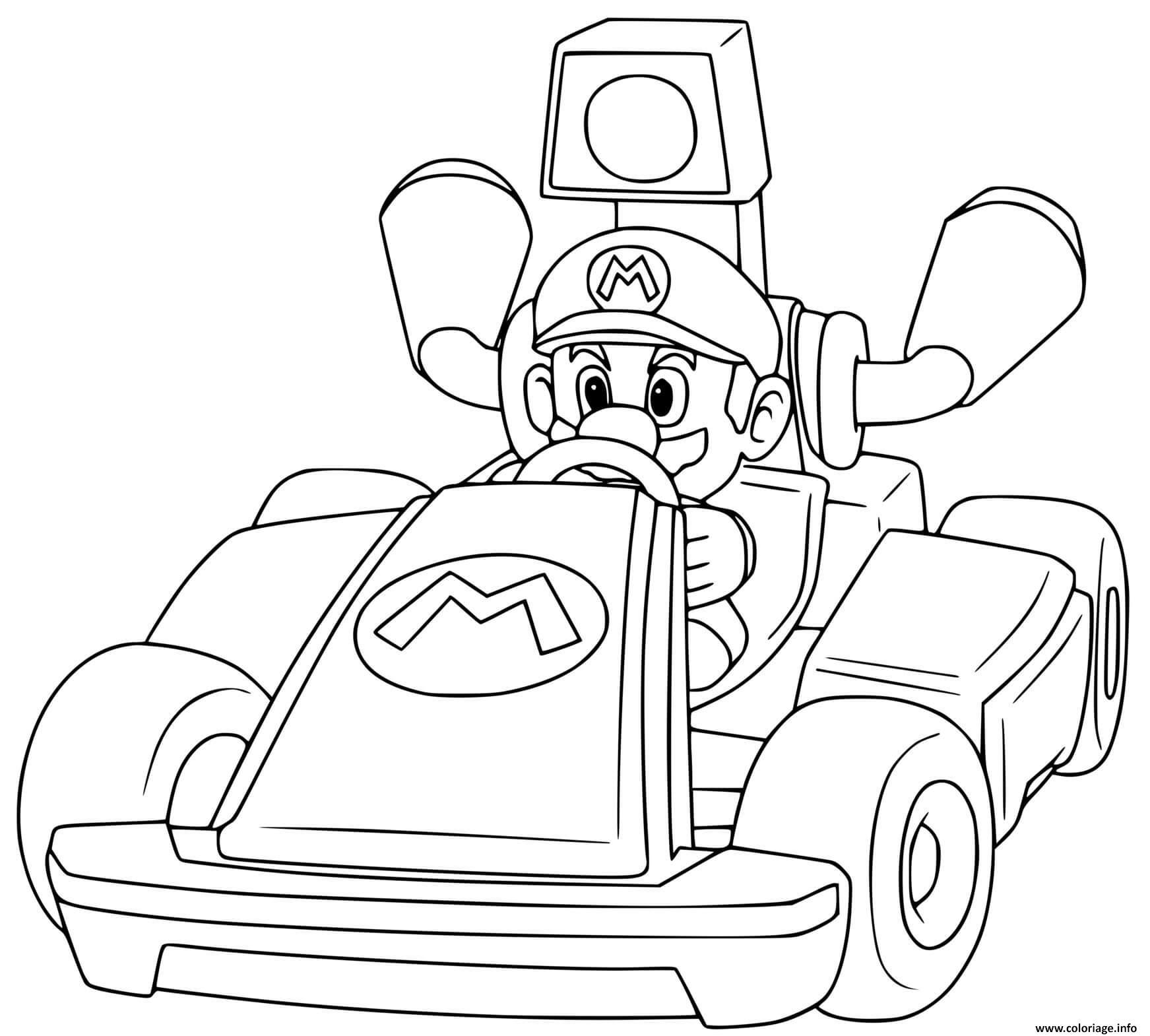 Dessin mario remporte la premiere position mario kart Coloriage Gratuit à Imprimer