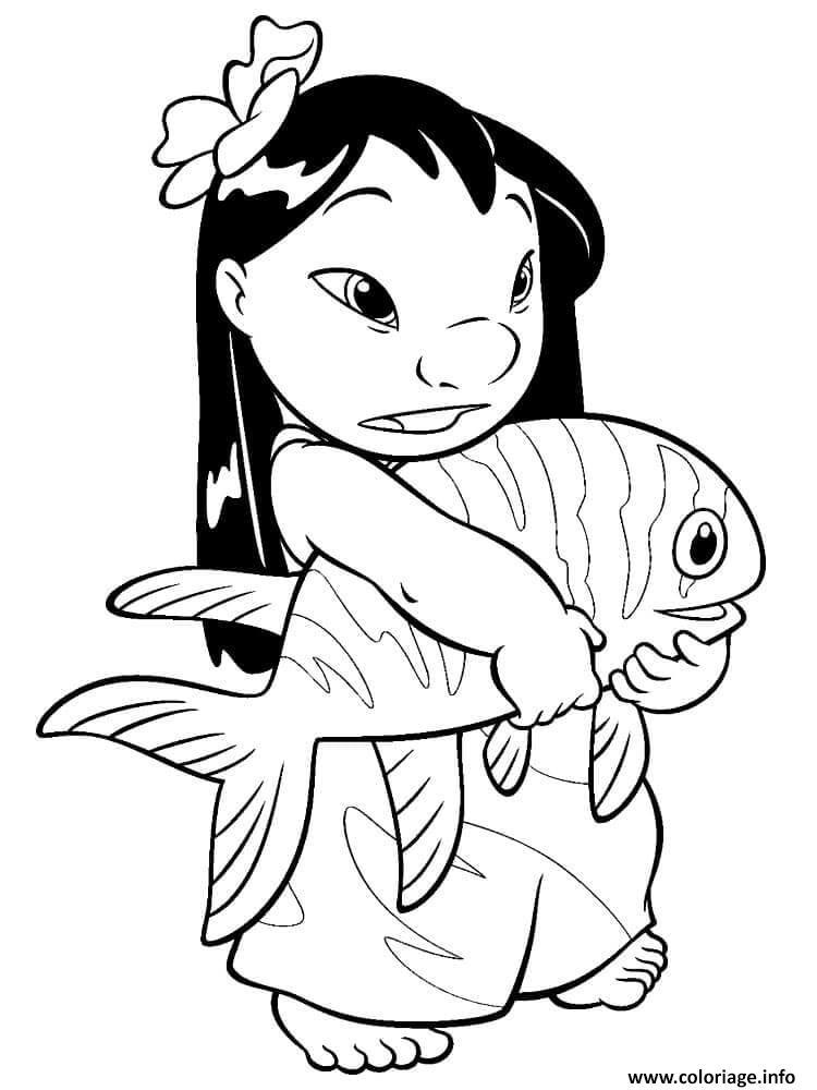 Dessin stitch et lilo le poisson Coloriage Gratuit à Imprimer