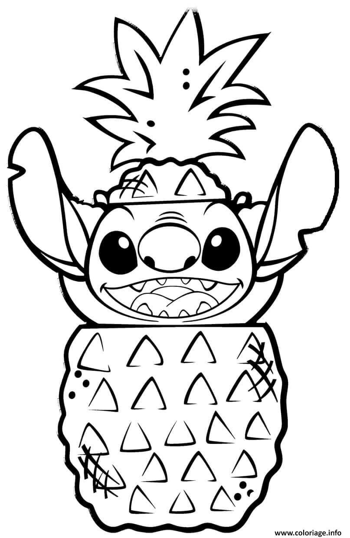 Dessin stitch dans un fruit ananas Coloriage Gratuit à Imprimer