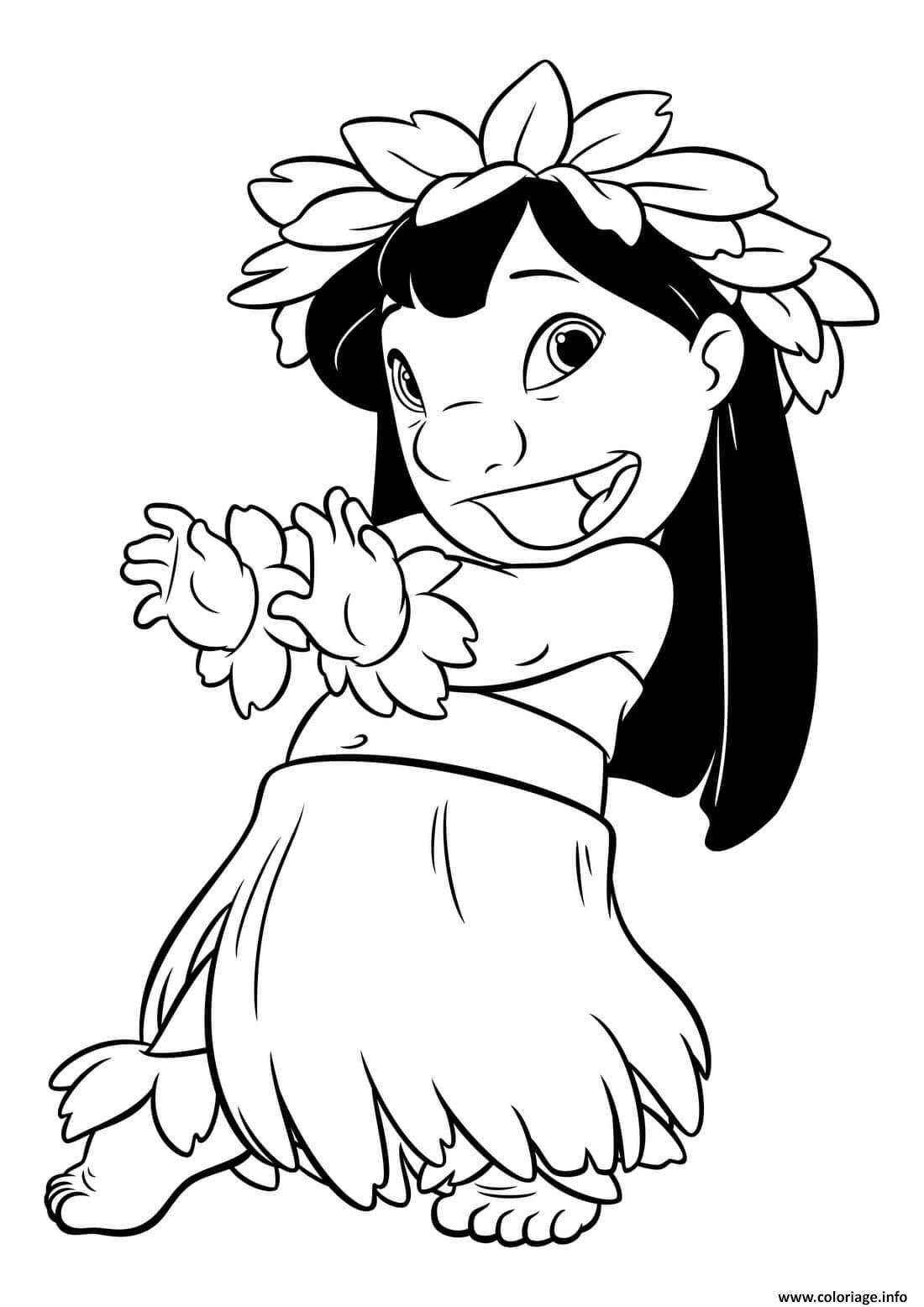 Dessin lilo fait une danse hawaii Coloriage Gratuit à Imprimer