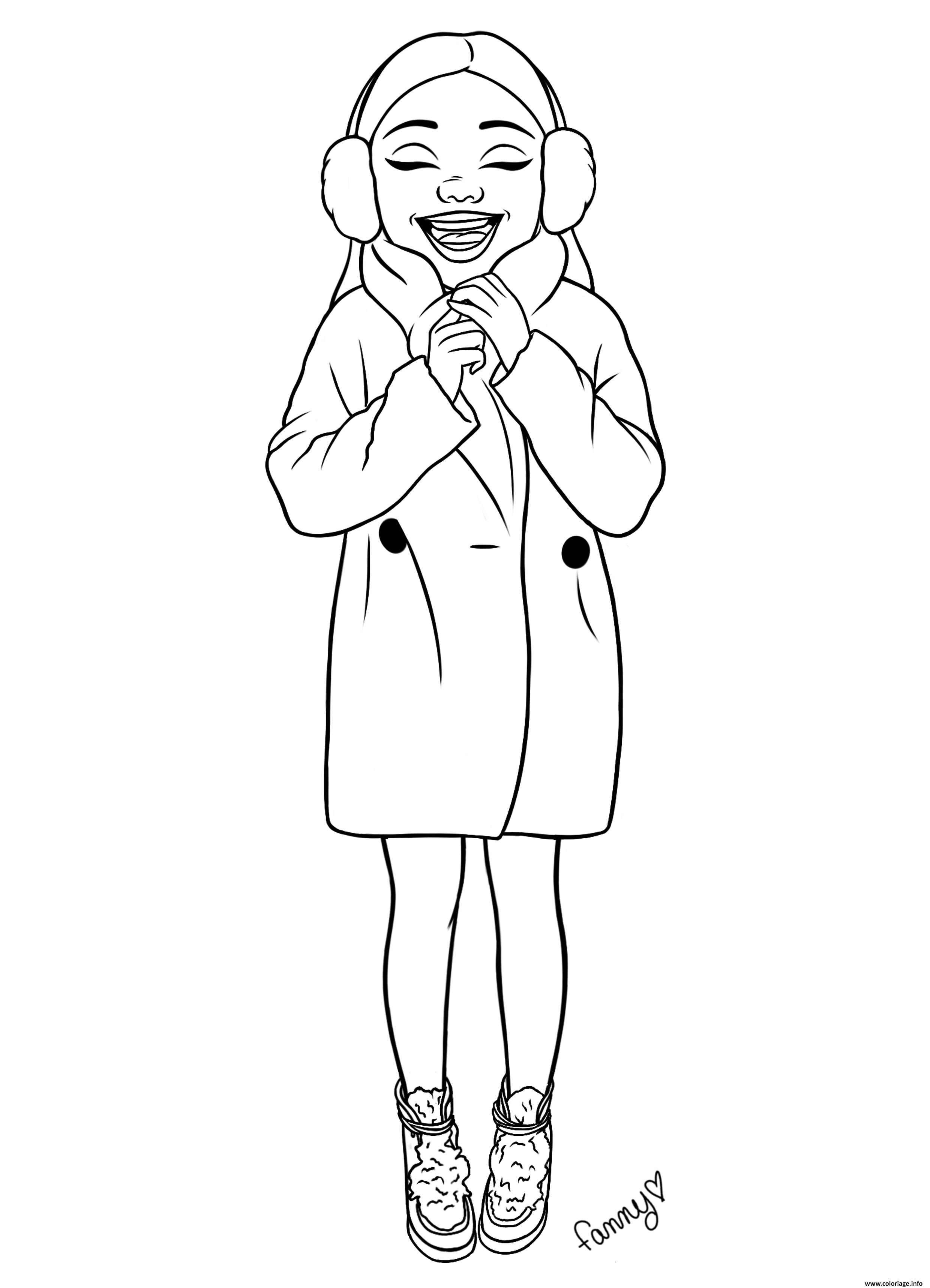 Dessin fille ado bien au chaud avec son manteau Coloriage Gratuit à Imprimer