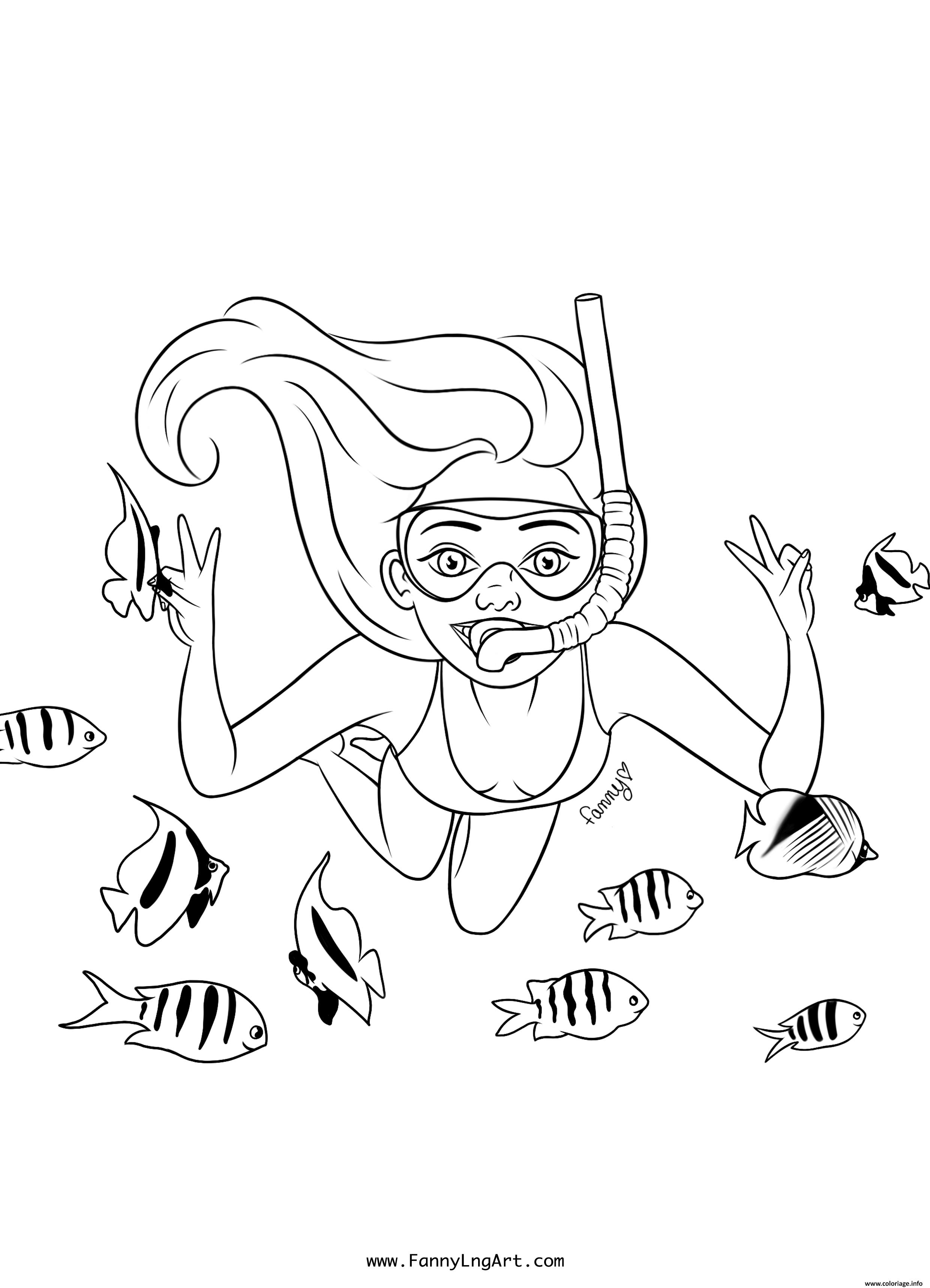Dessin fille ado sous la mer avec les poissons Coloriage Gratuit à Imprimer