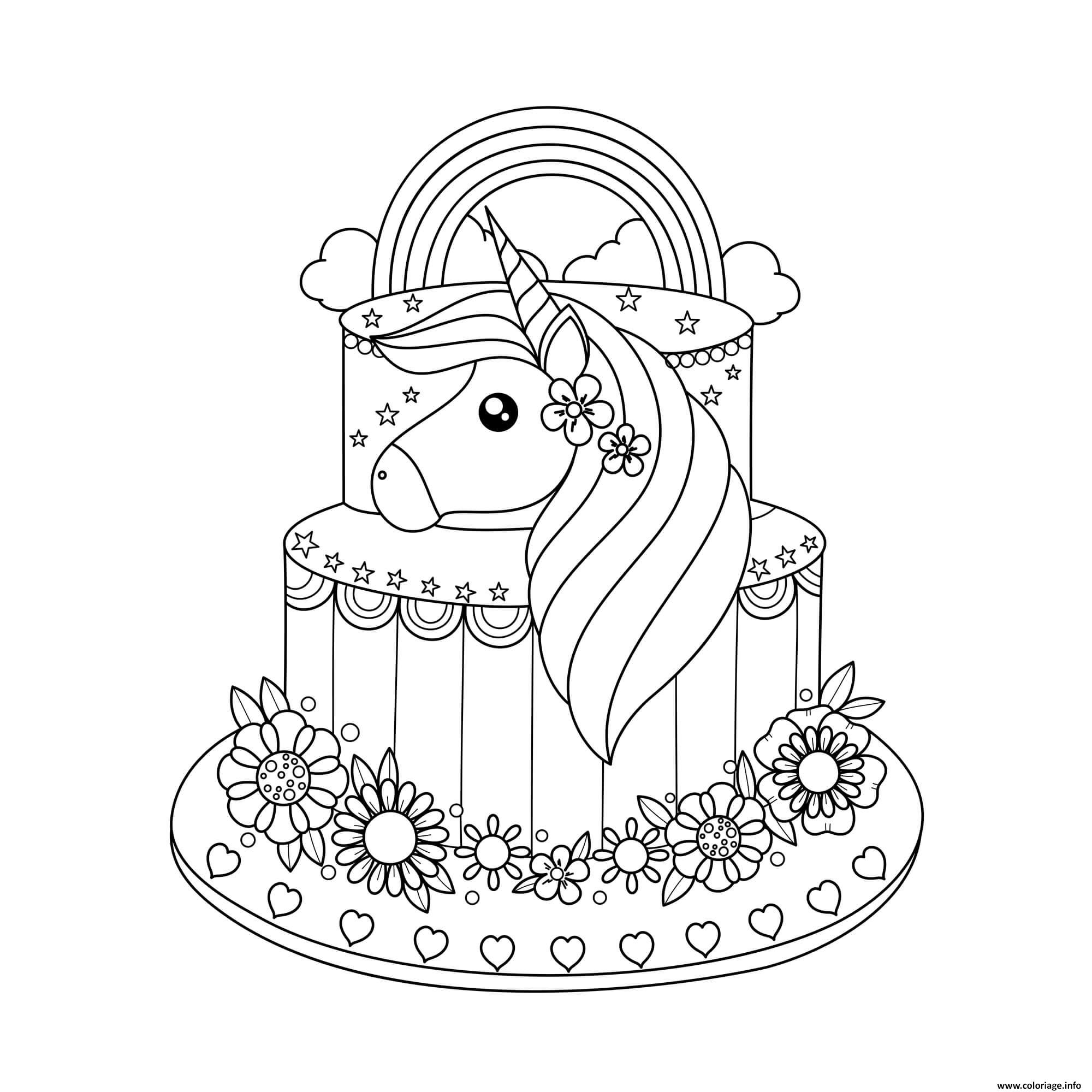 Dessin janvier enfant licorne gateau Coloriage Gratuit à Imprimer