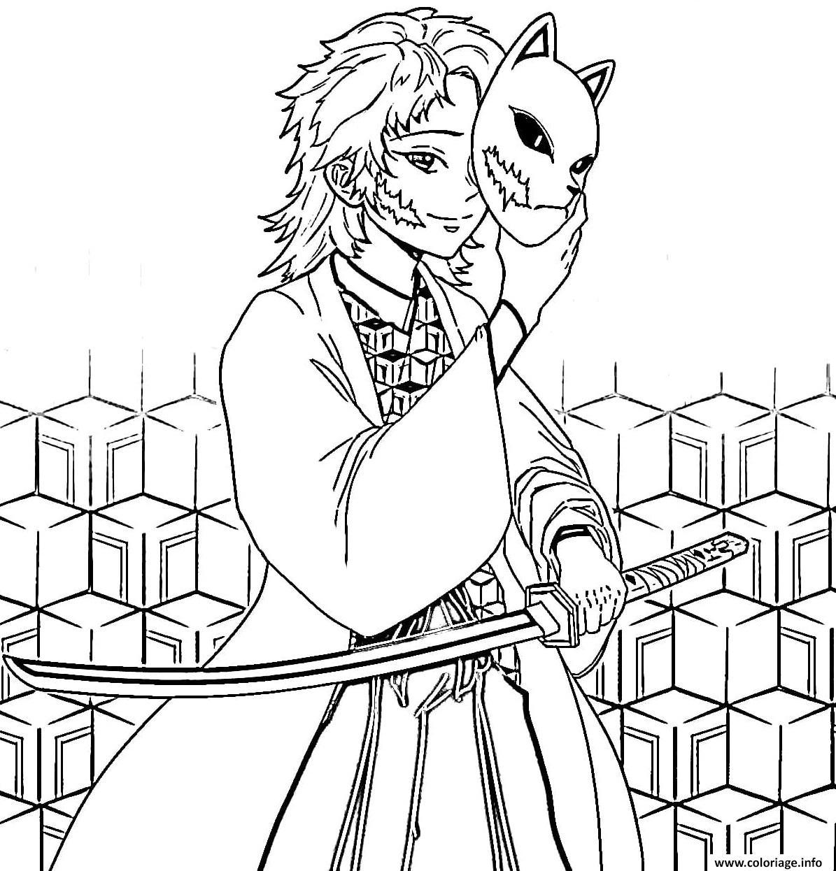 Dessin Sabito with mask demon slayer Coloriage Gratuit à Imprimer