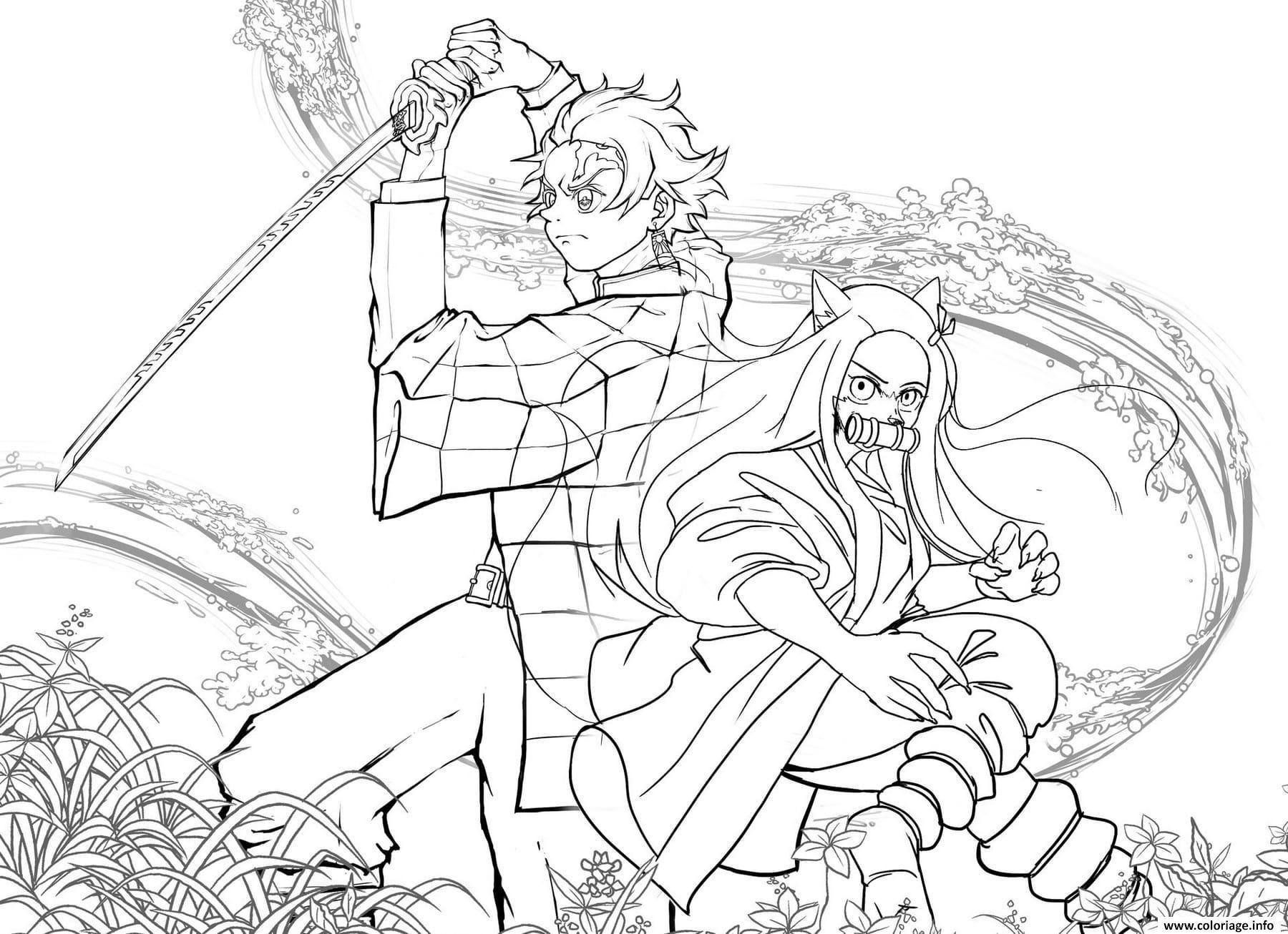 Dessin Tanjiro and Nezuko in battle demon slayer Coloriage Gratuit à Imprimer
