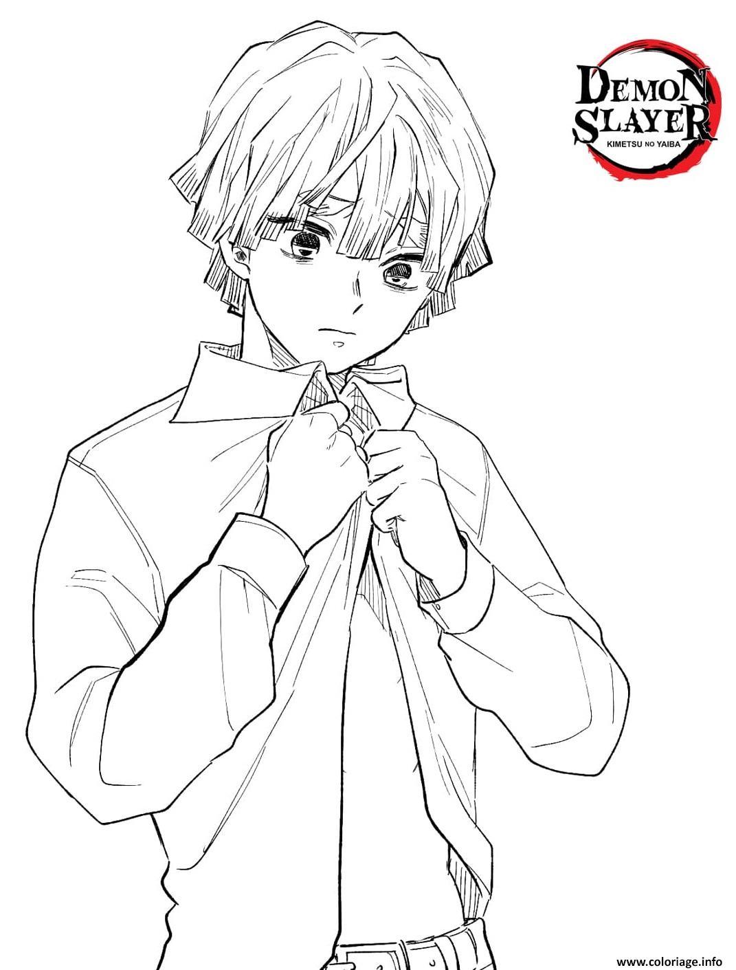 Dessin Zenitsu in a shirt demon slayer Coloriage Gratuit à Imprimer