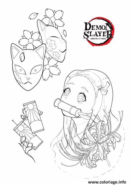 Dessin Nezuko and masks demon slayer Coloriage Gratuit à Imprimer