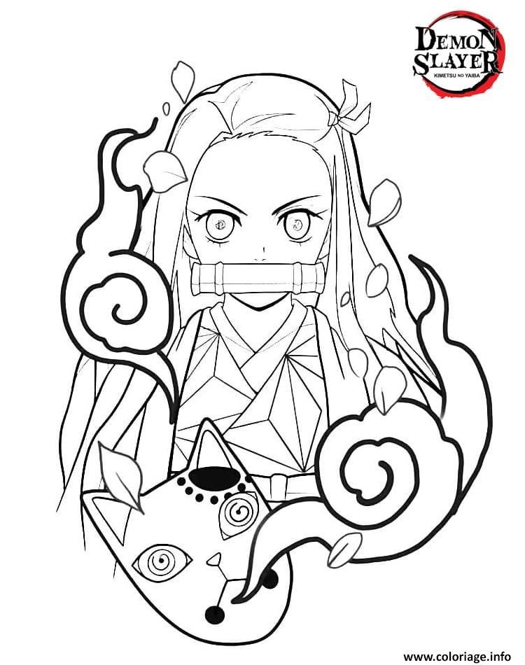 Dessin Nezuko Kamado from the anime Demon Slayer demon slayer Coloriage Gratuit à Imprimer