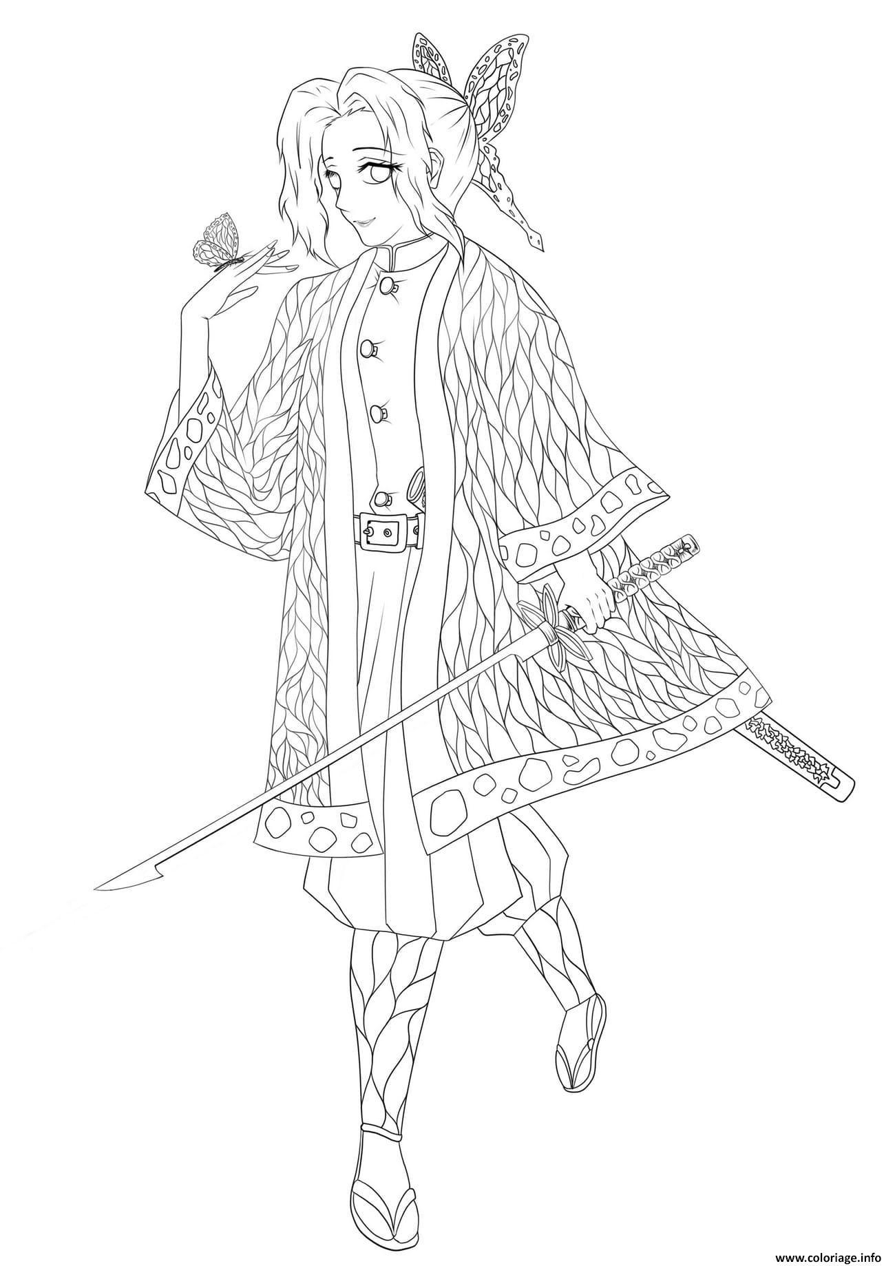 Dessin Shinobu Kocho and the butterfly demon slayer Coloriage Gratuit à Imprimer