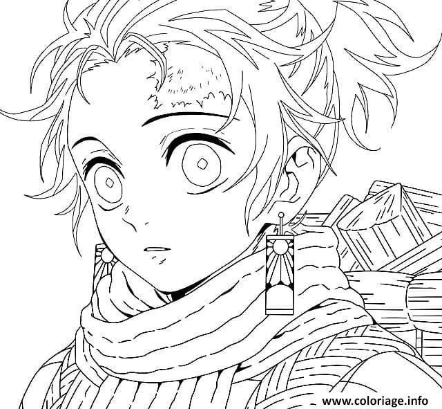 Dessin Cute Tanjiro Kamado demon slayer Coloriage Gratuit à Imprimer