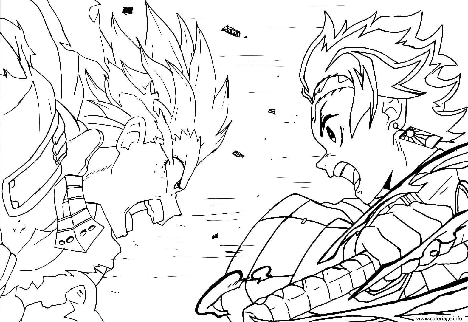 Dessin Deku vs Tanjiro demon slayer Coloriage Gratuit à Imprimer