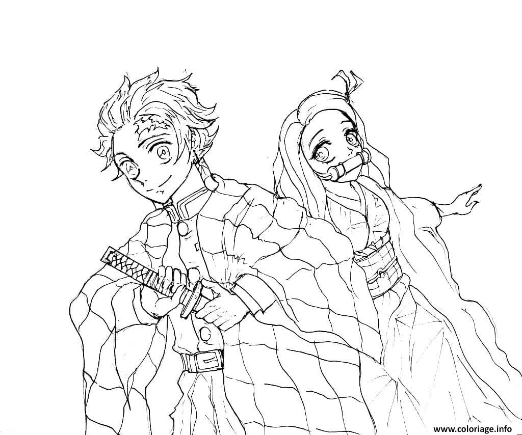 Dessin Tanjiro Kamado and his younger sister demon slayer Coloriage Gratuit à Imprimer