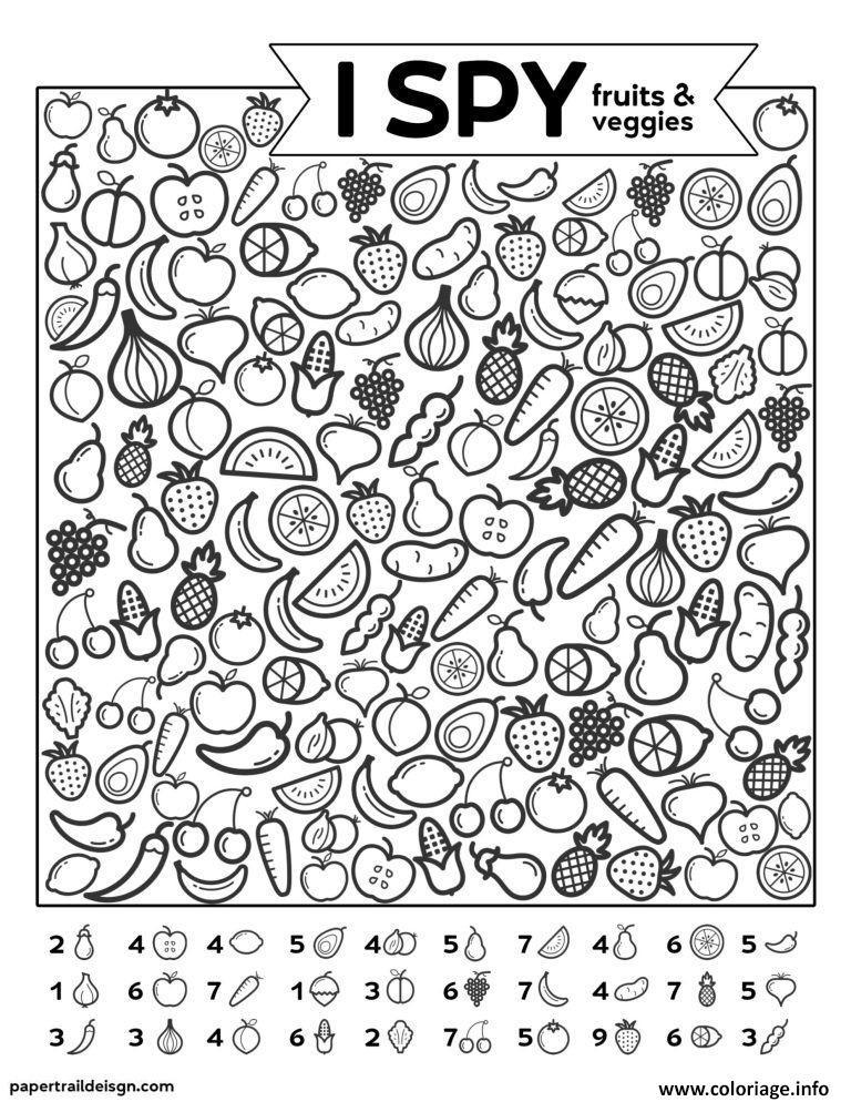 Dessin Fruits Et Legumes Cherche et Trouve Coloriage Gratuit à Imprimer