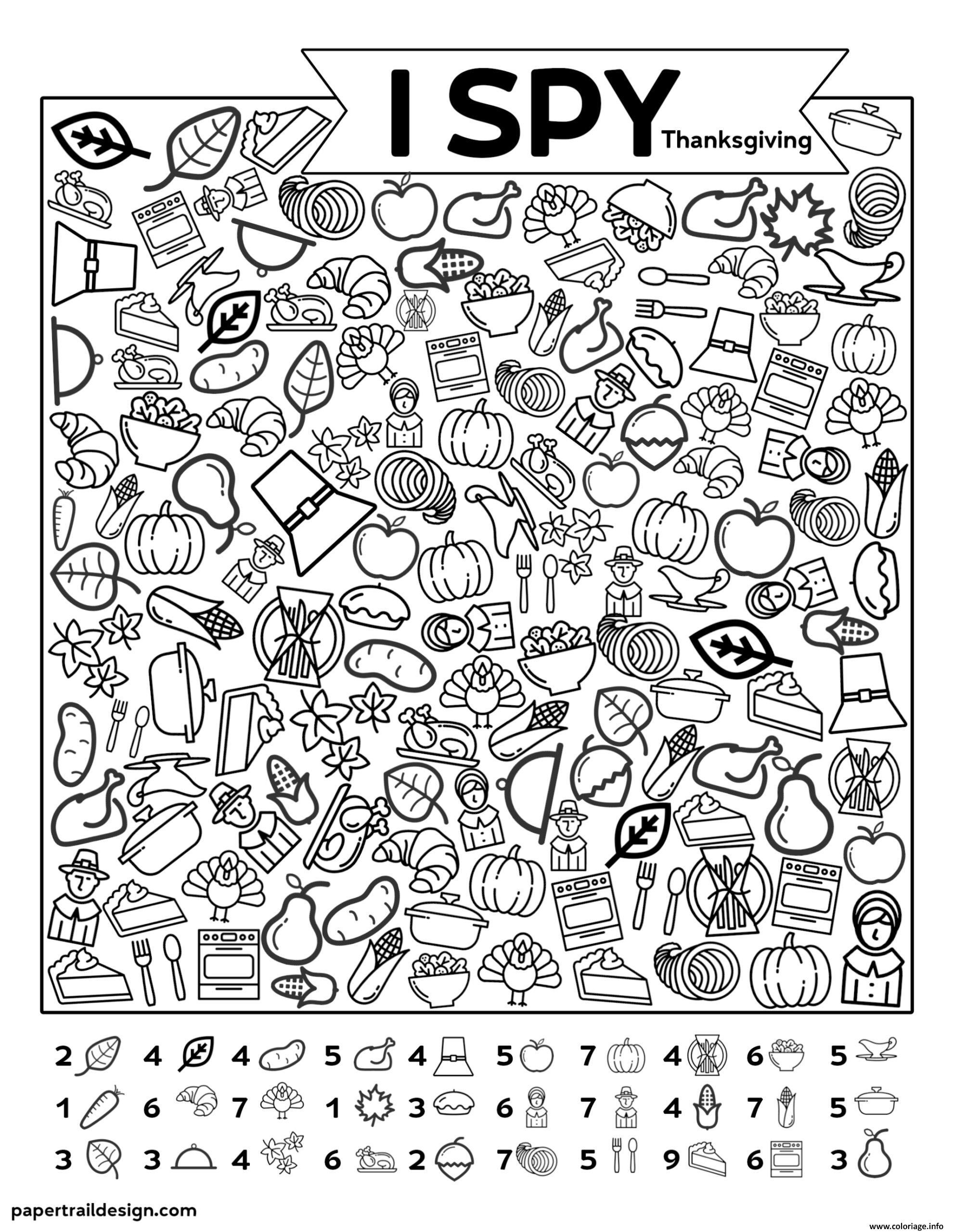 Dessin I Spy Back Thanksgiving Coloriage Gratuit à Imprimer