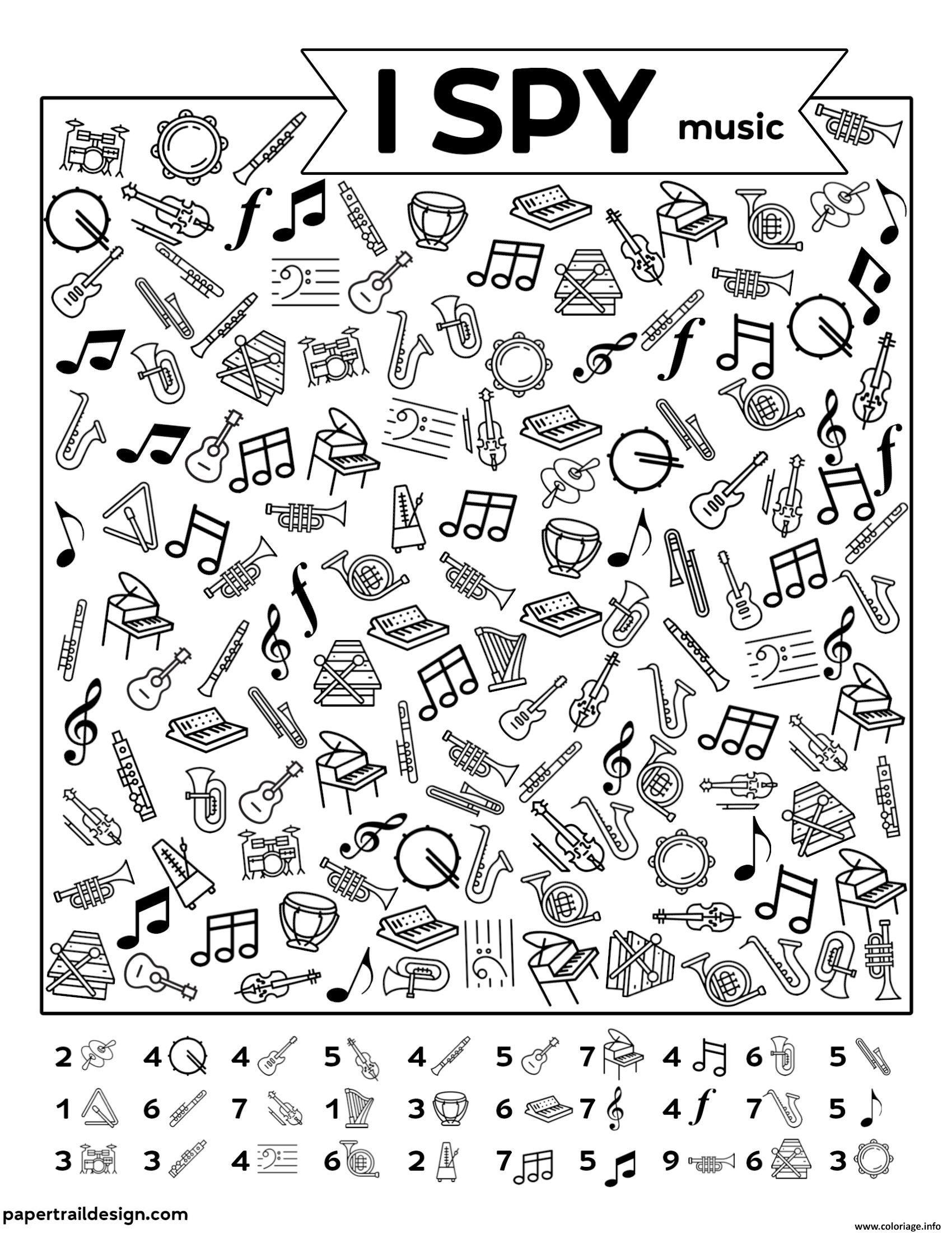 Dessin Musique Cherche et Trouve Coloriage Gratuit à Imprimer