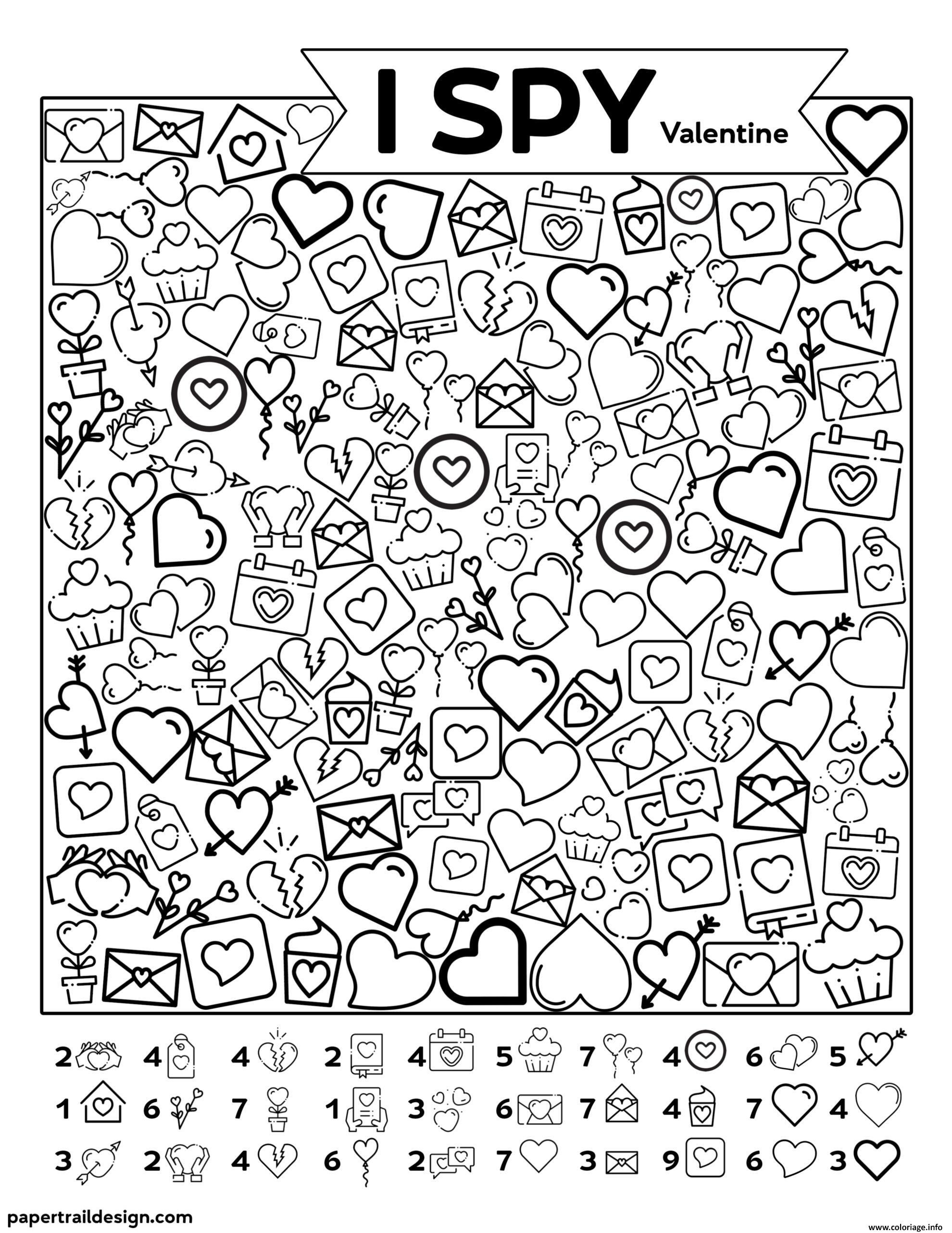 Dessin Saint Valentin Cherche et Trouve Coloriage Gratuit à Imprimer