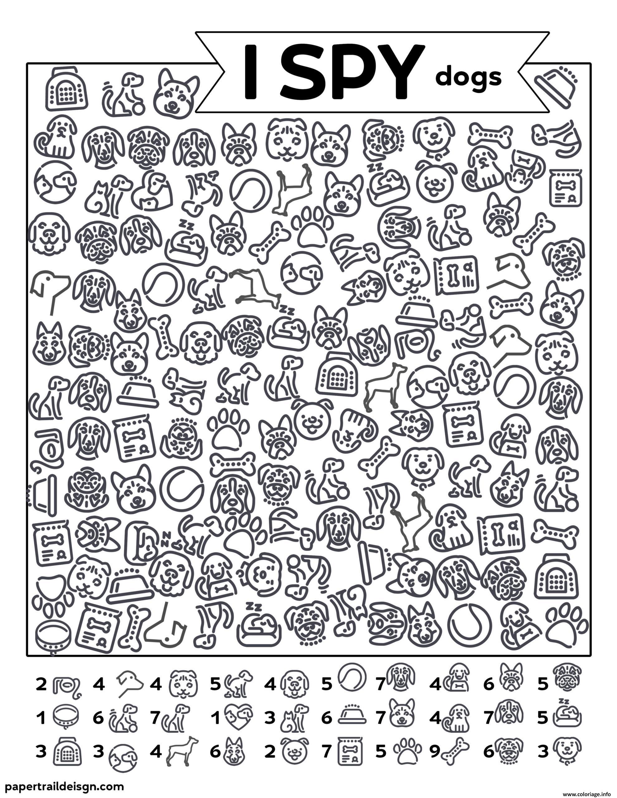 Dessin Chien Animaux Cherche et Trouve Coloriage Gratuit à Imprimer
