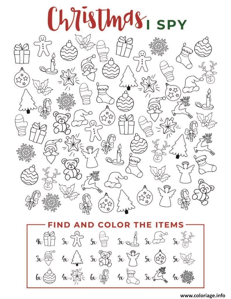 Dessin I Spy Christmas Find and color the items Coloriage Gratuit à Imprimer