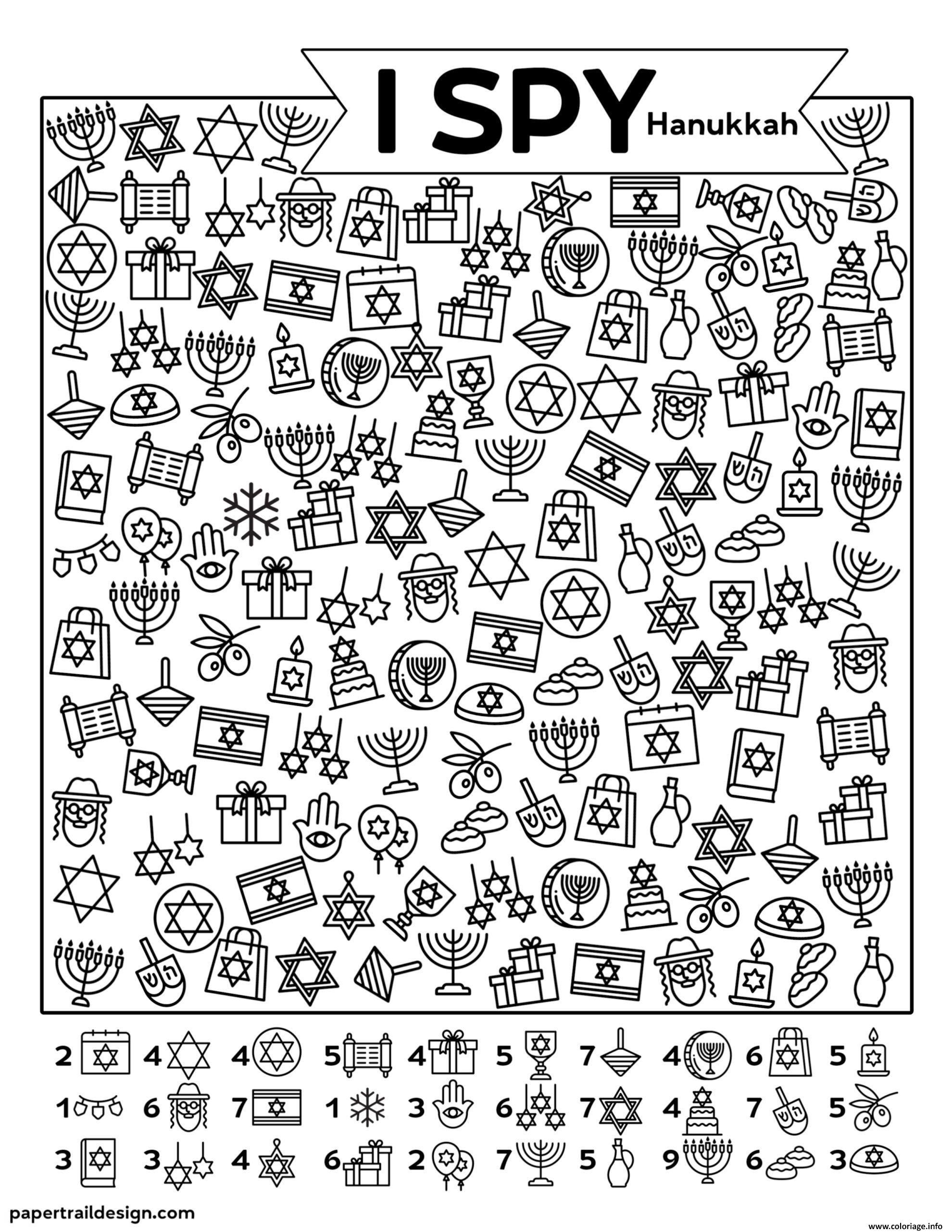 Dessin I Spy Hanukkah Coloriage Gratuit à Imprimer