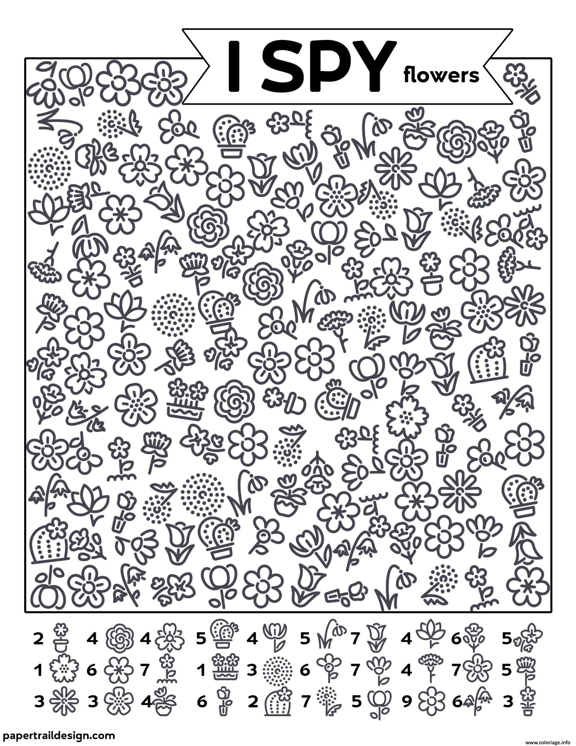 Dessin Fleurs Cherche et Trouve Coloriage Gratuit à Imprimer