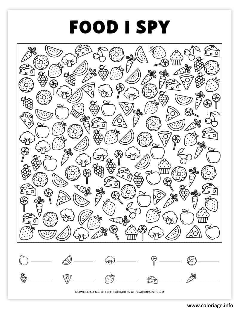 Dessin Nourriture Cherche et Trouve Coloriage Gratuit à Imprimer