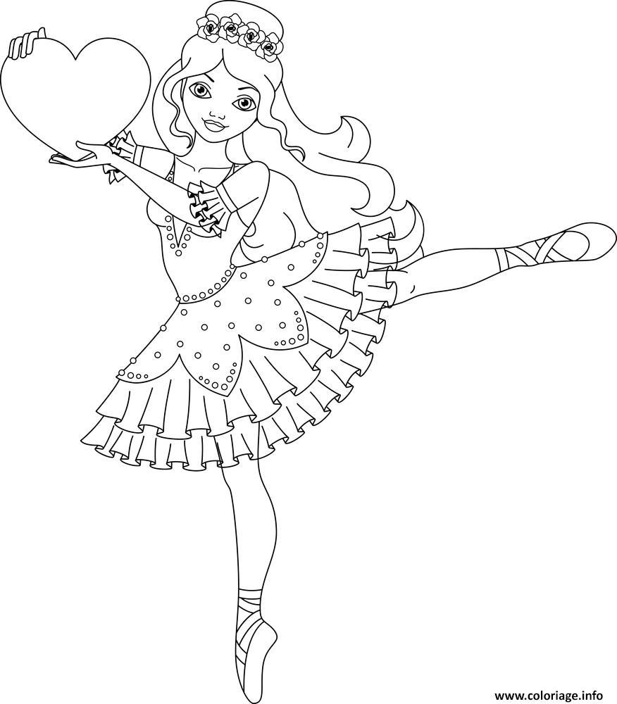 Dessin danseuse avec un coeur Coloriage Gratuit à Imprimer