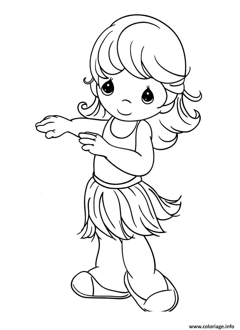 Dessin une petite fille qui danse Coloriage Gratuit à Imprimer