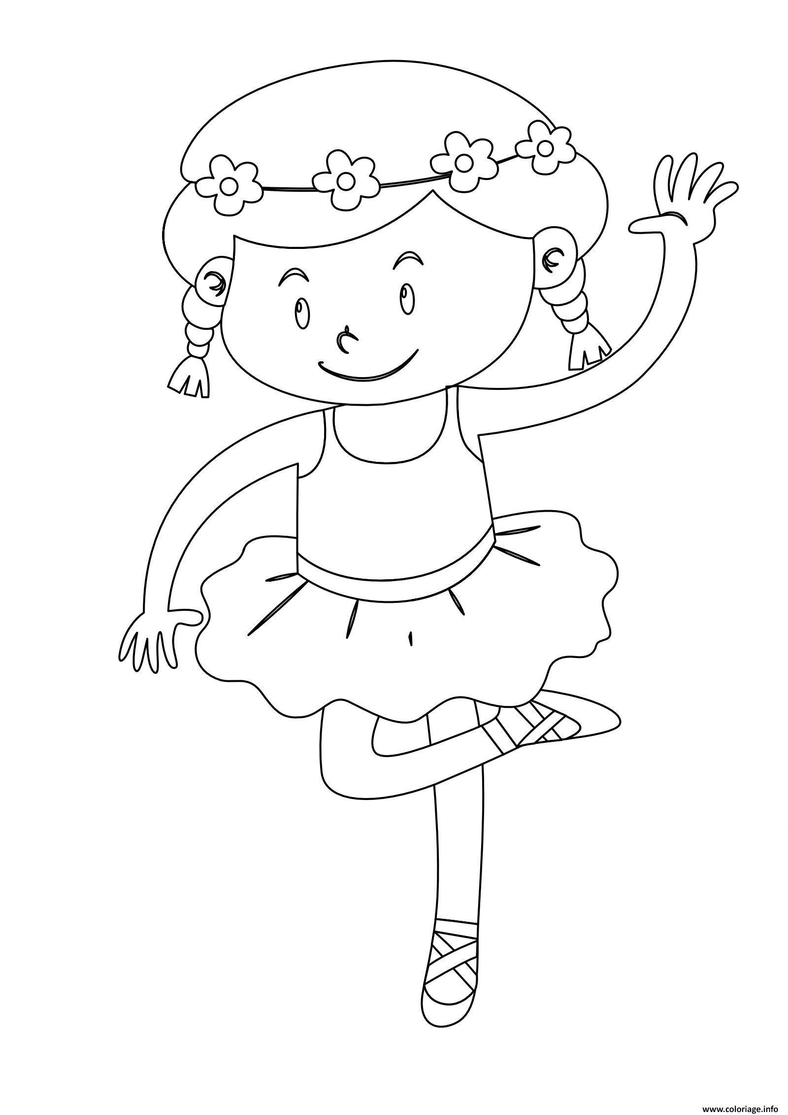 Dessin danseuse petite fille Coloriage Gratuit à Imprimer