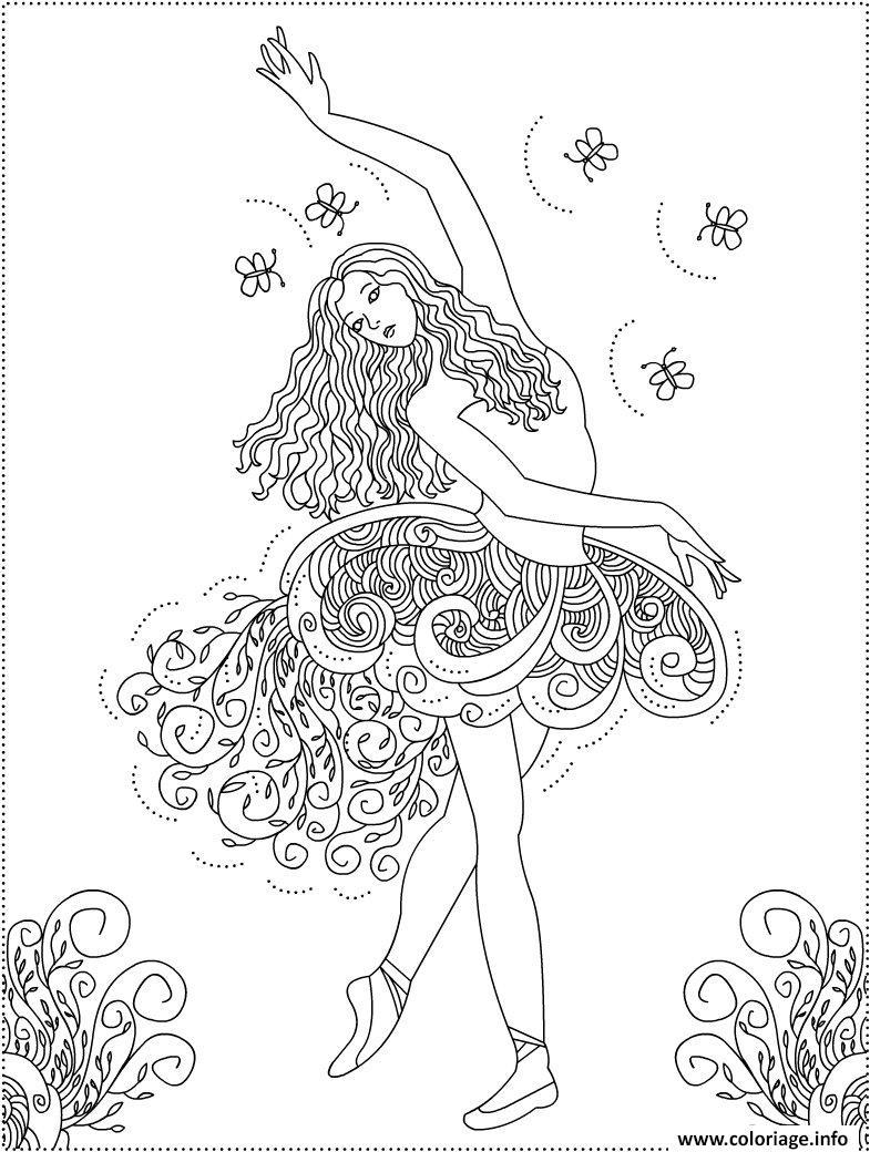 Dessin danseuse mandala adulte femme Coloriage Gratuit à Imprimer