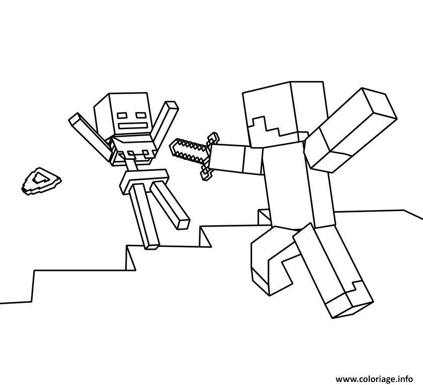 Dessin roblox vs minecraft Coloriage Gratuit à Imprimer