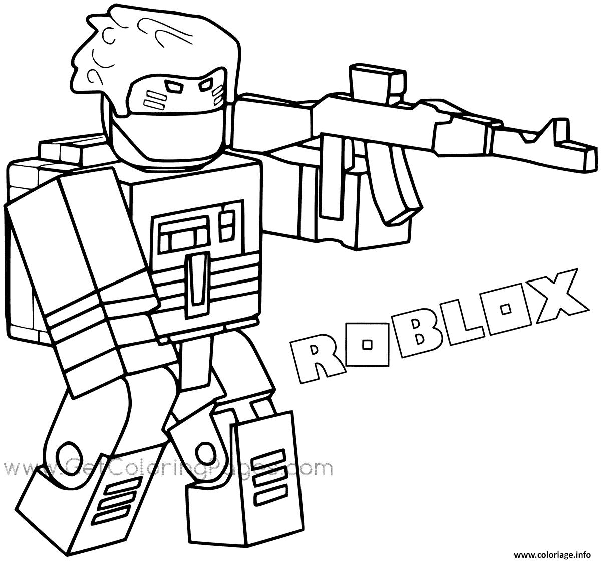 Dessin Roblox Bandit with Weapon and Backpac Coloriage Gratuit à Imprimer