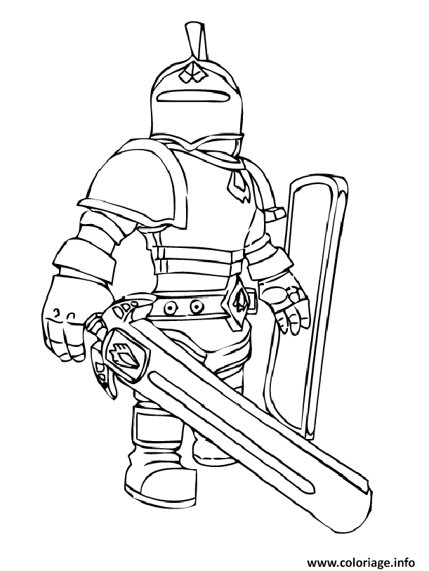 Dessin roblox knight Coloriage Gratuit à Imprimer