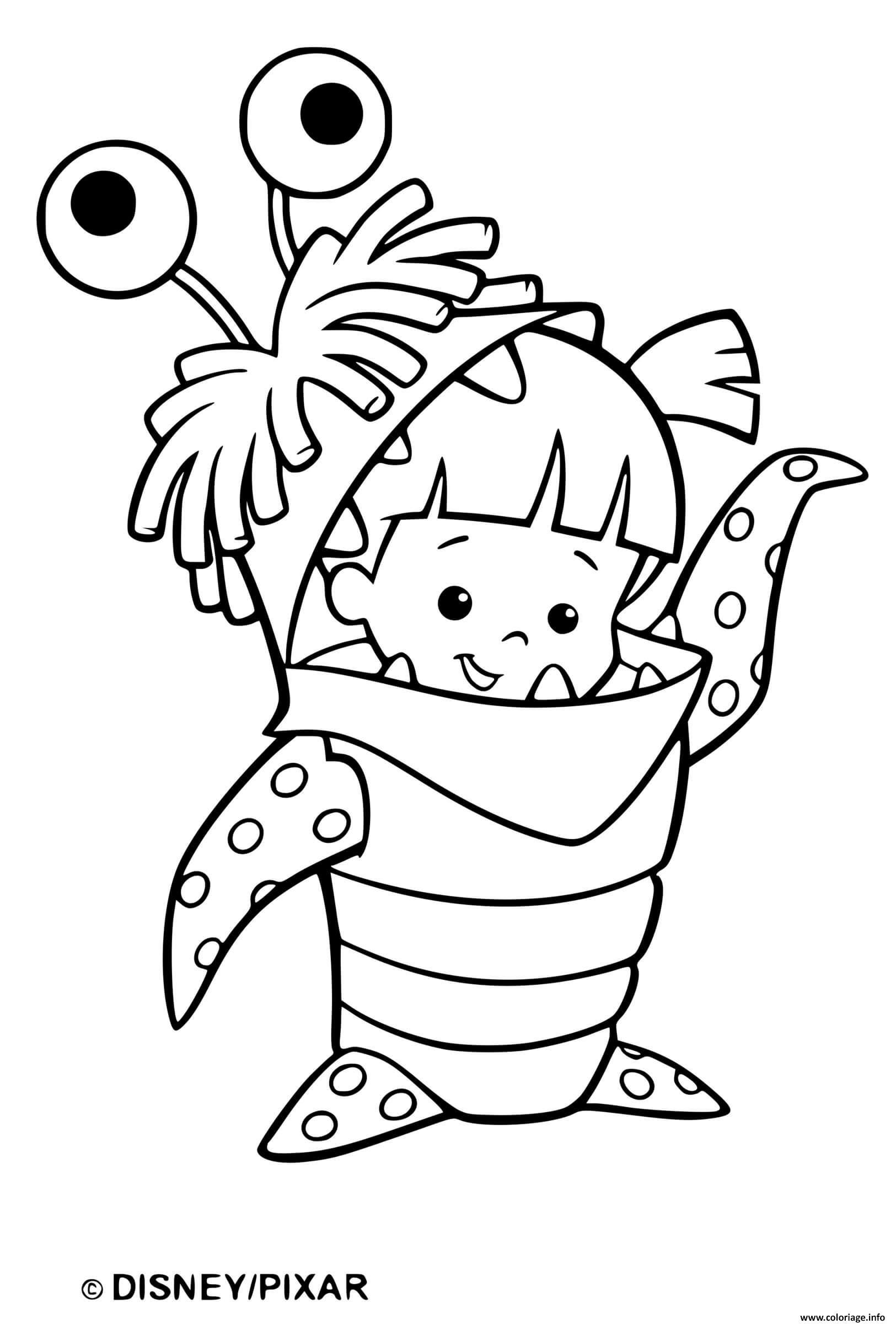 Dessin monstre et cie facile petite fille deguisee Coloriage Gratuit à Imprimer