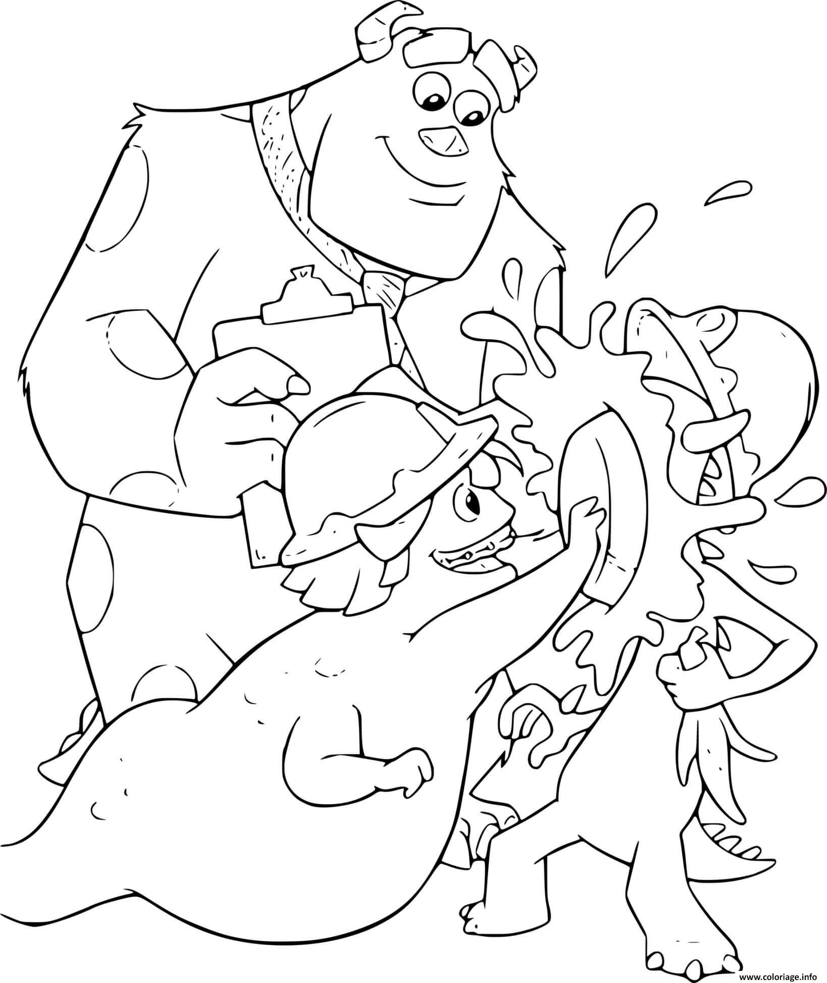 Dessin monstre et cie lance une tarte sur un monstre Coloriage Gratuit à Imprimer