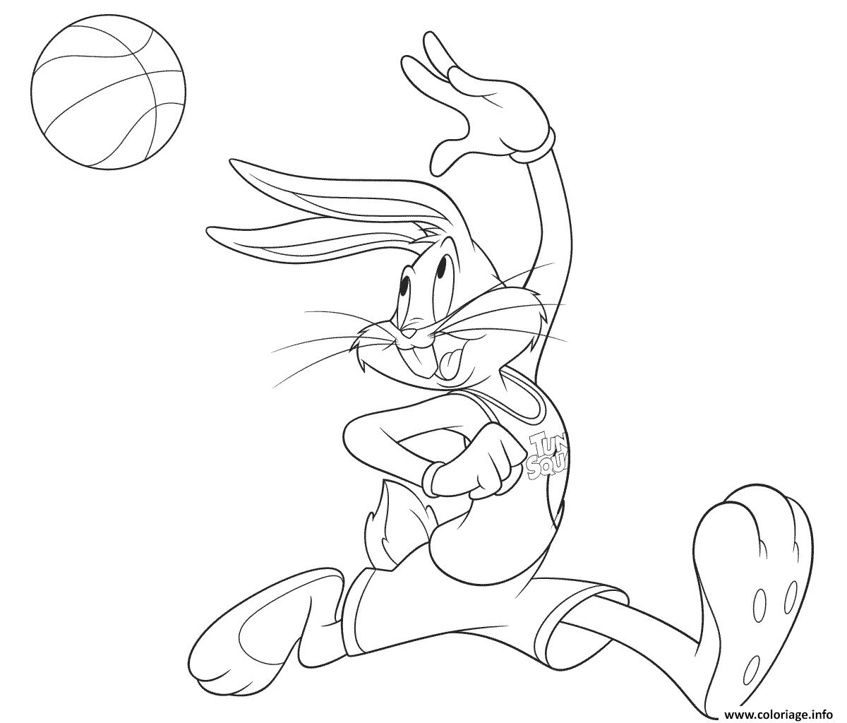 Dessin Bugs Bunny Basketball Coloriage Gratuit à Imprimer