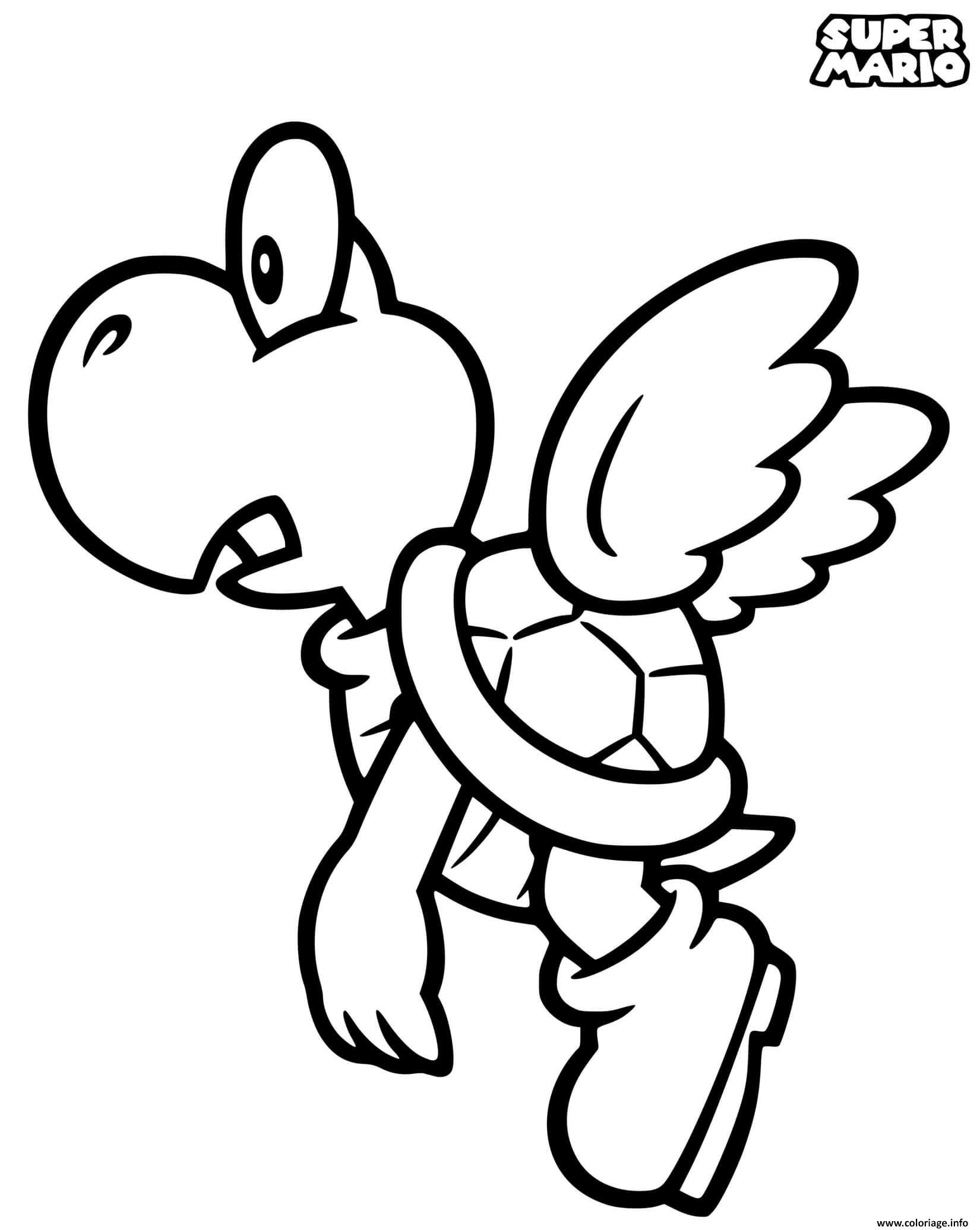 Dessin super mario koopa paratroopa Coloriage Gratuit à Imprimer