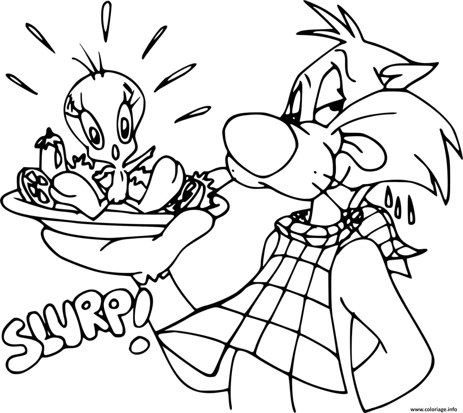 Dessin gros minet veut manger titi avec une salade Coloriage Gratuit à Imprimer