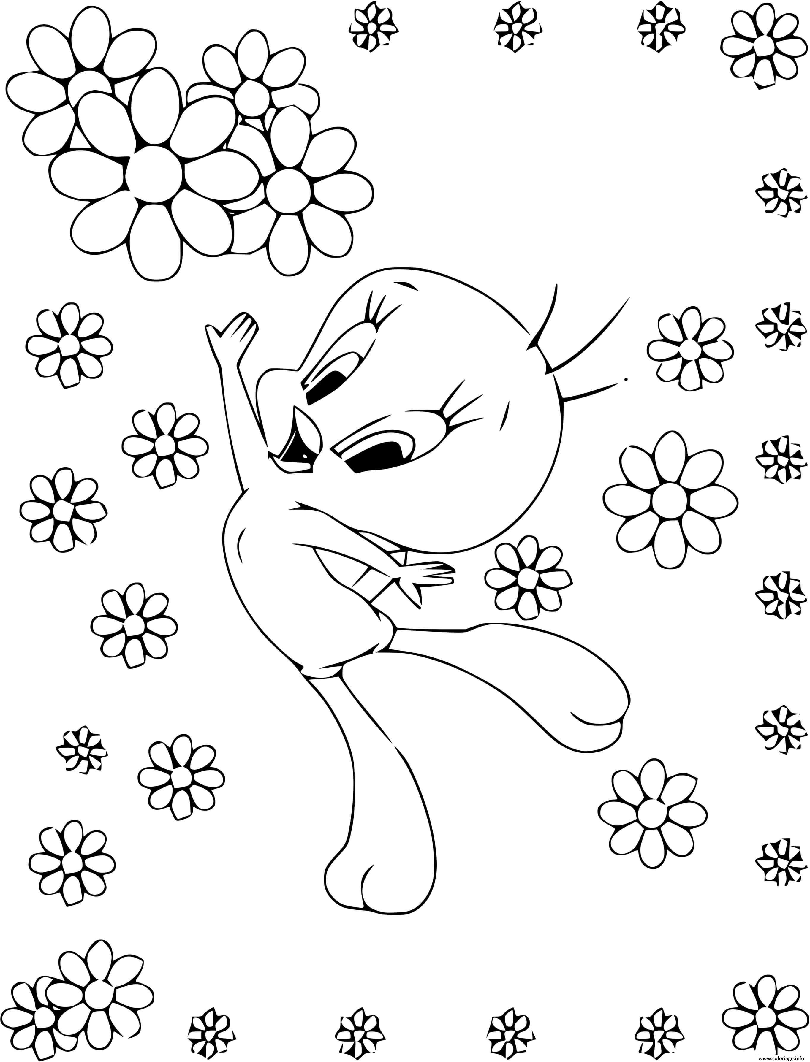 Dessin titi oiseau et des fleurs Coloriage Gratuit à Imprimer