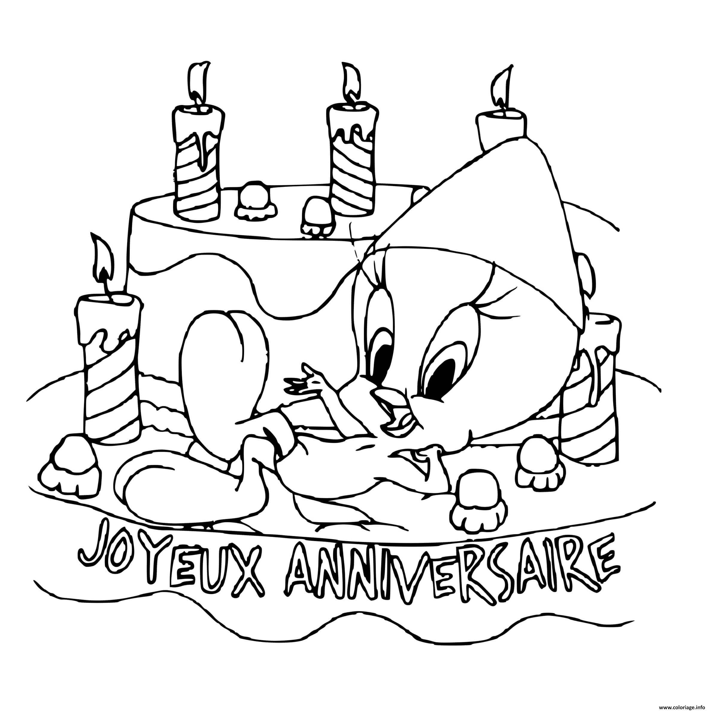 Dessin titi anniversaire Coloriage Gratuit à Imprimer