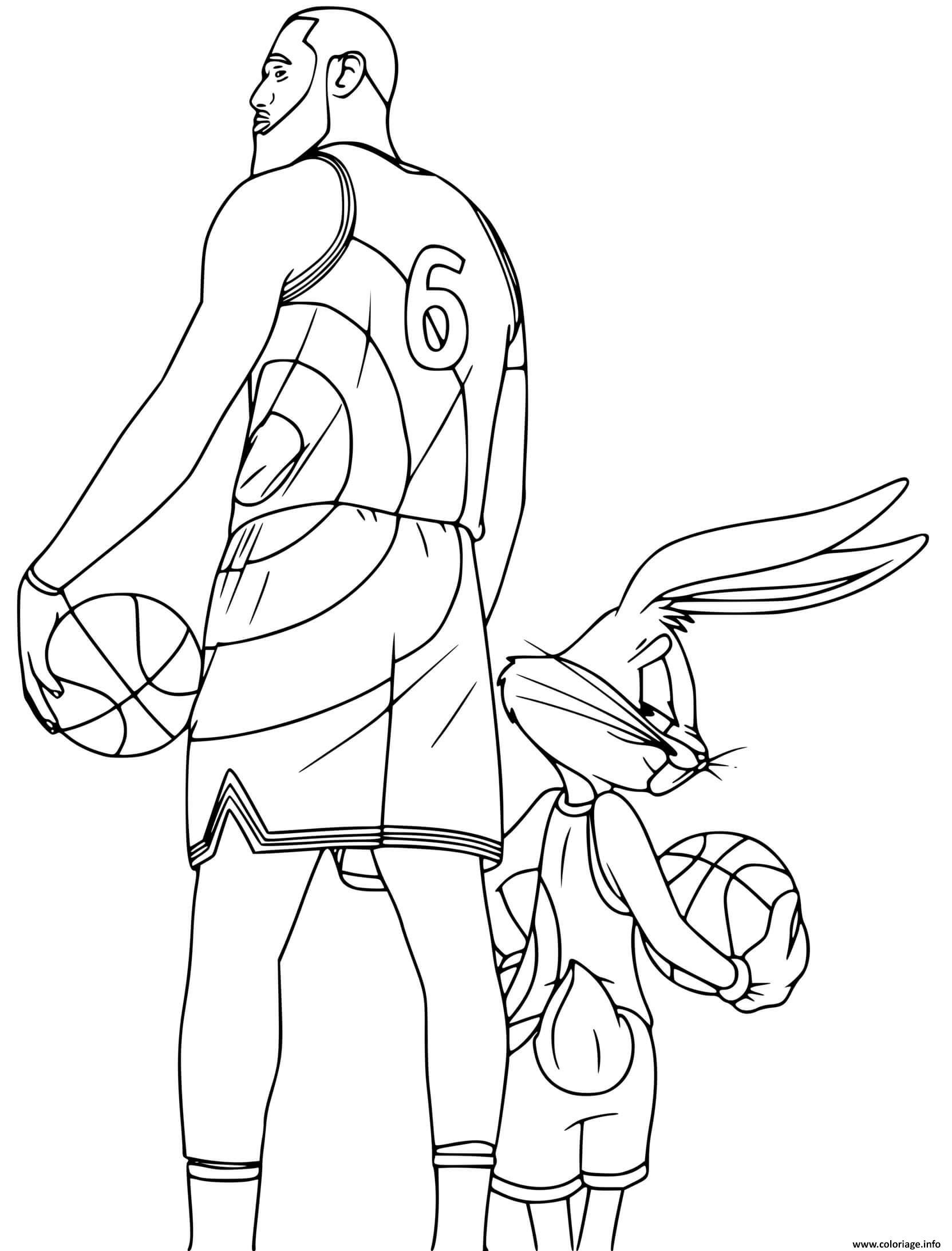 Dessin Nouveau film Space Jam 2 LeBron James et Bugs Bunny Coloriage Gratuit à Imprimer