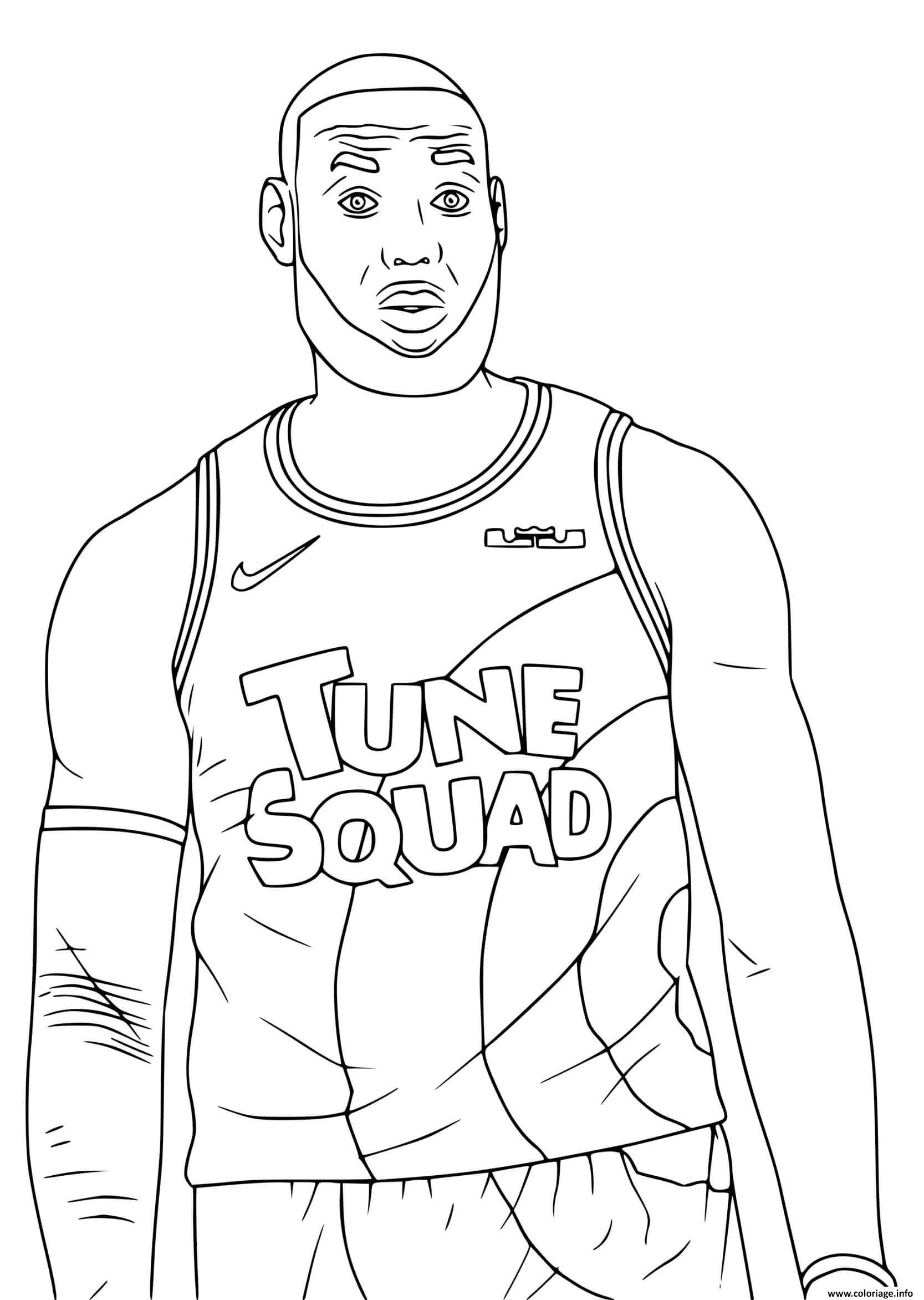 Dessin LeBron James Tune Squad Space Jam 2 Coloriage Gratuit à Imprimer