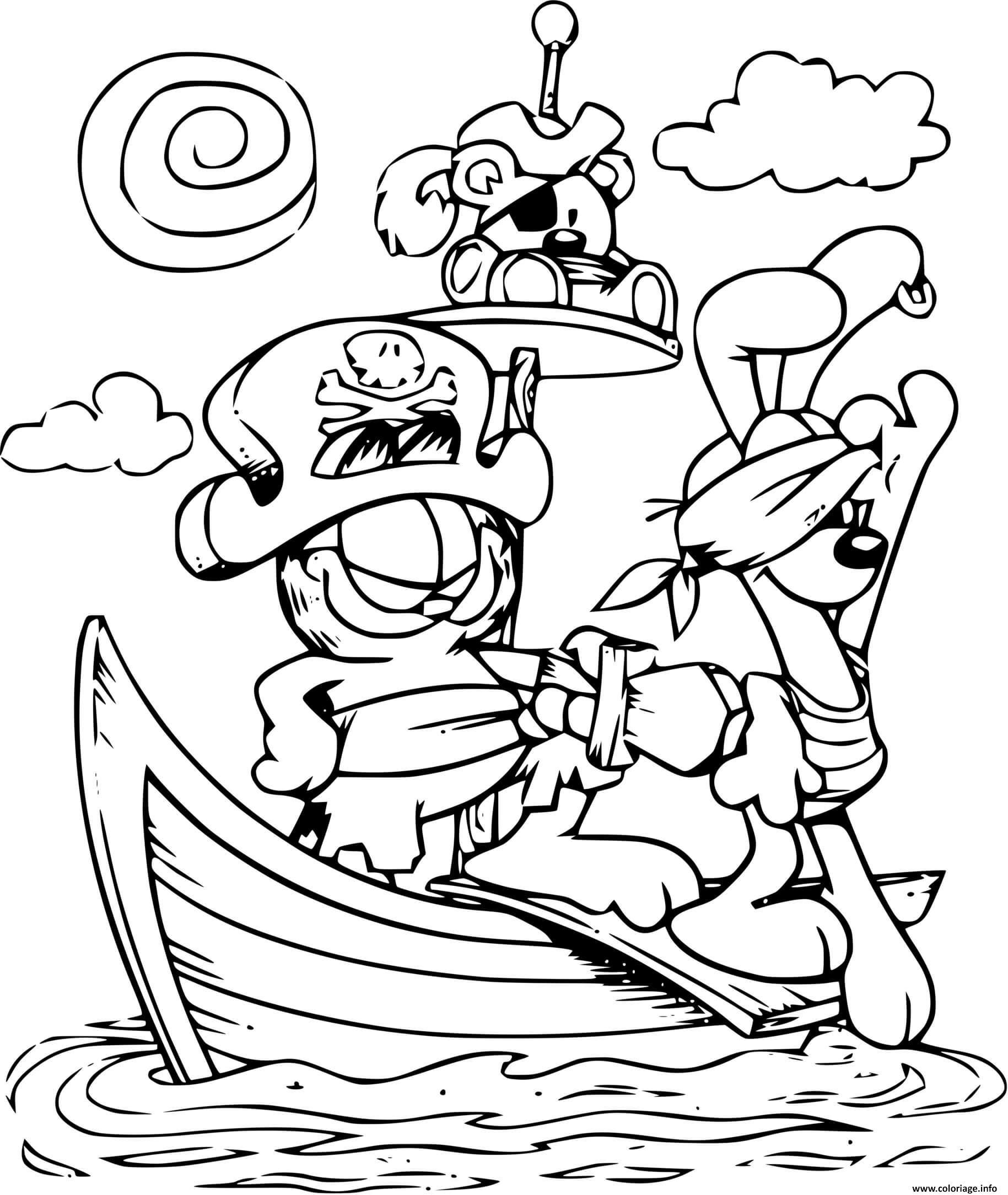 Dessin garfield le pirate sur un bateau en mer Coloriage Gratuit à Imprimer