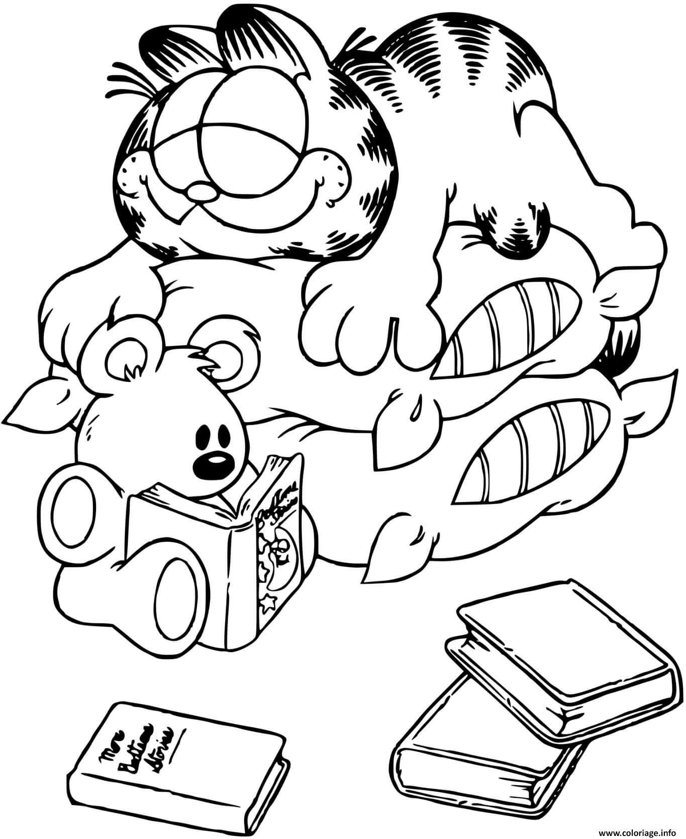 Dessin Garfield fait une petite sieste Coloriage Gratuit à Imprimer