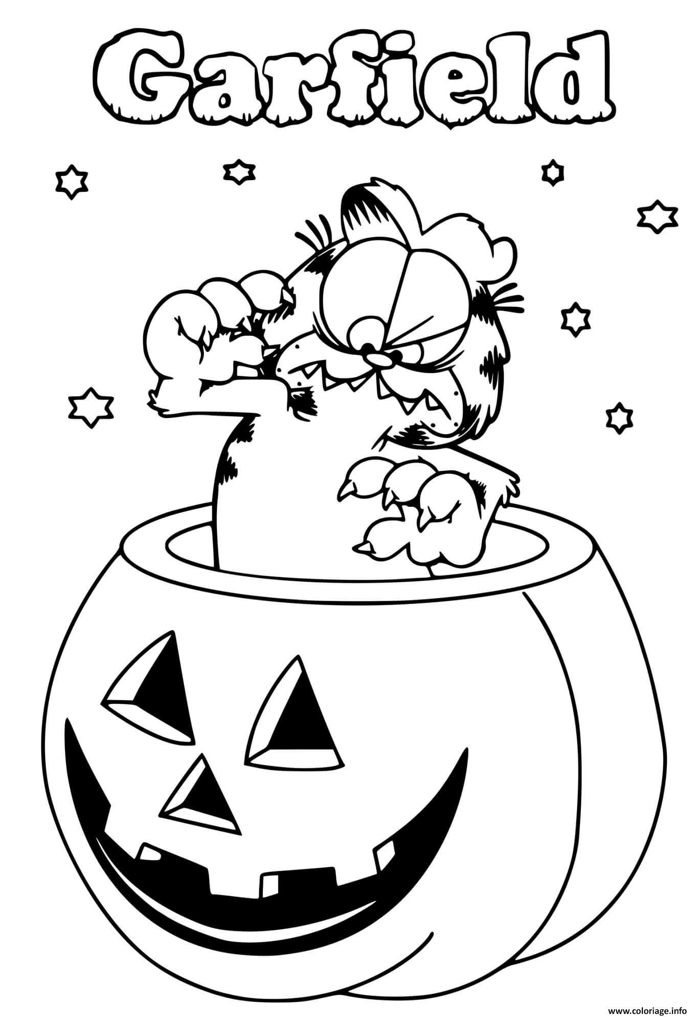 Dessin Garfield Halloween dans une citrouille Coloriage Gratuit à Imprimer