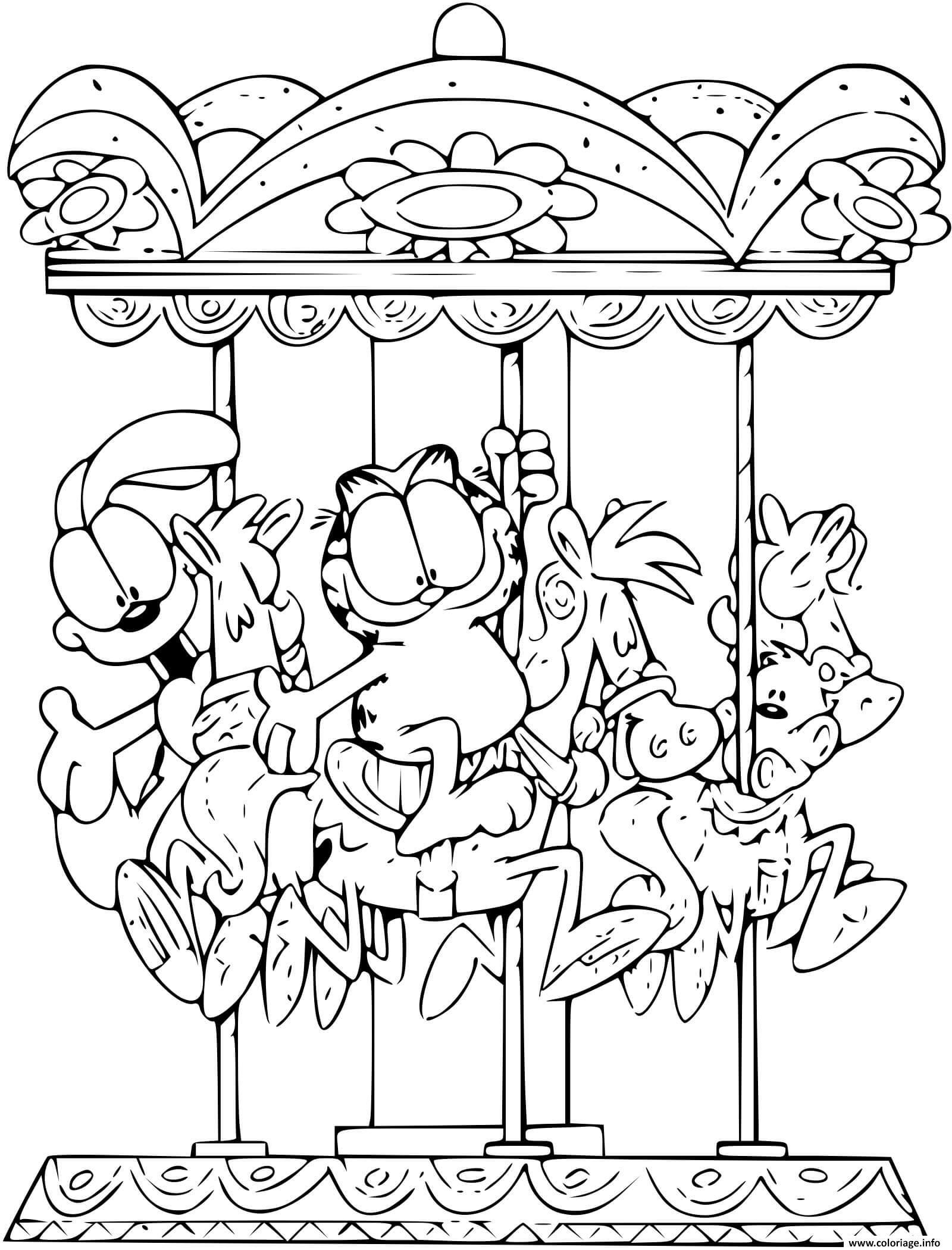 Dessin Garfield sur le cheval d un manege Coloriage Gratuit à Imprimer