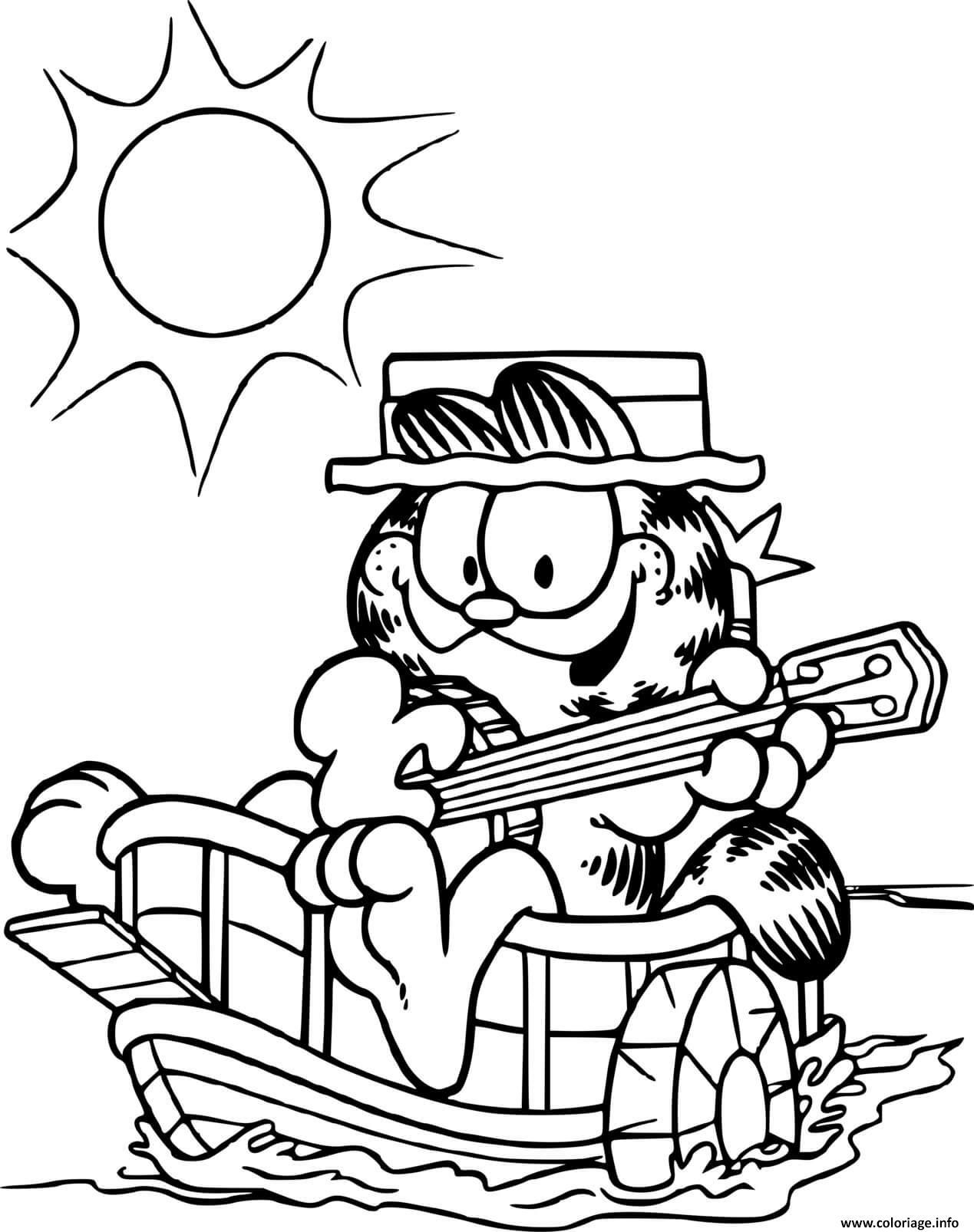 Dessin Garfield joue de la guitare sur son bateau Coloriage Gratuit à Imprimer